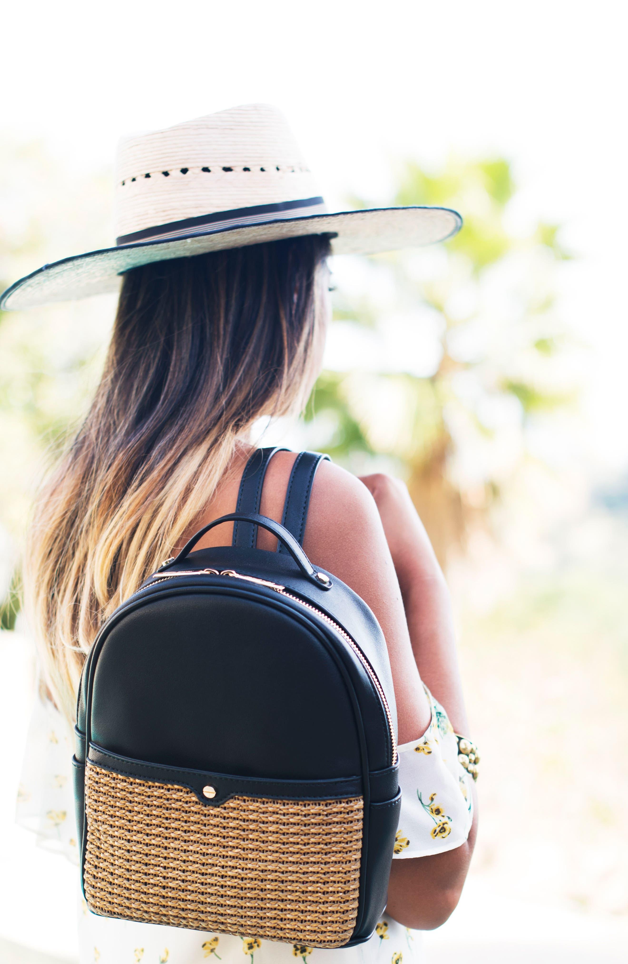 Mali + Lili Harper Lili Basket Weave Backpack,                             Alternate thumbnail 7, color,                             BLACK