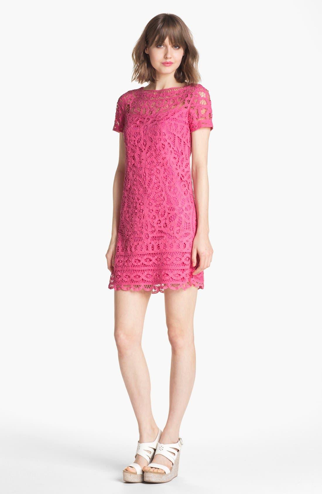 'Marie Kate' Lace Cotton Shift Dress, Main, color, 650