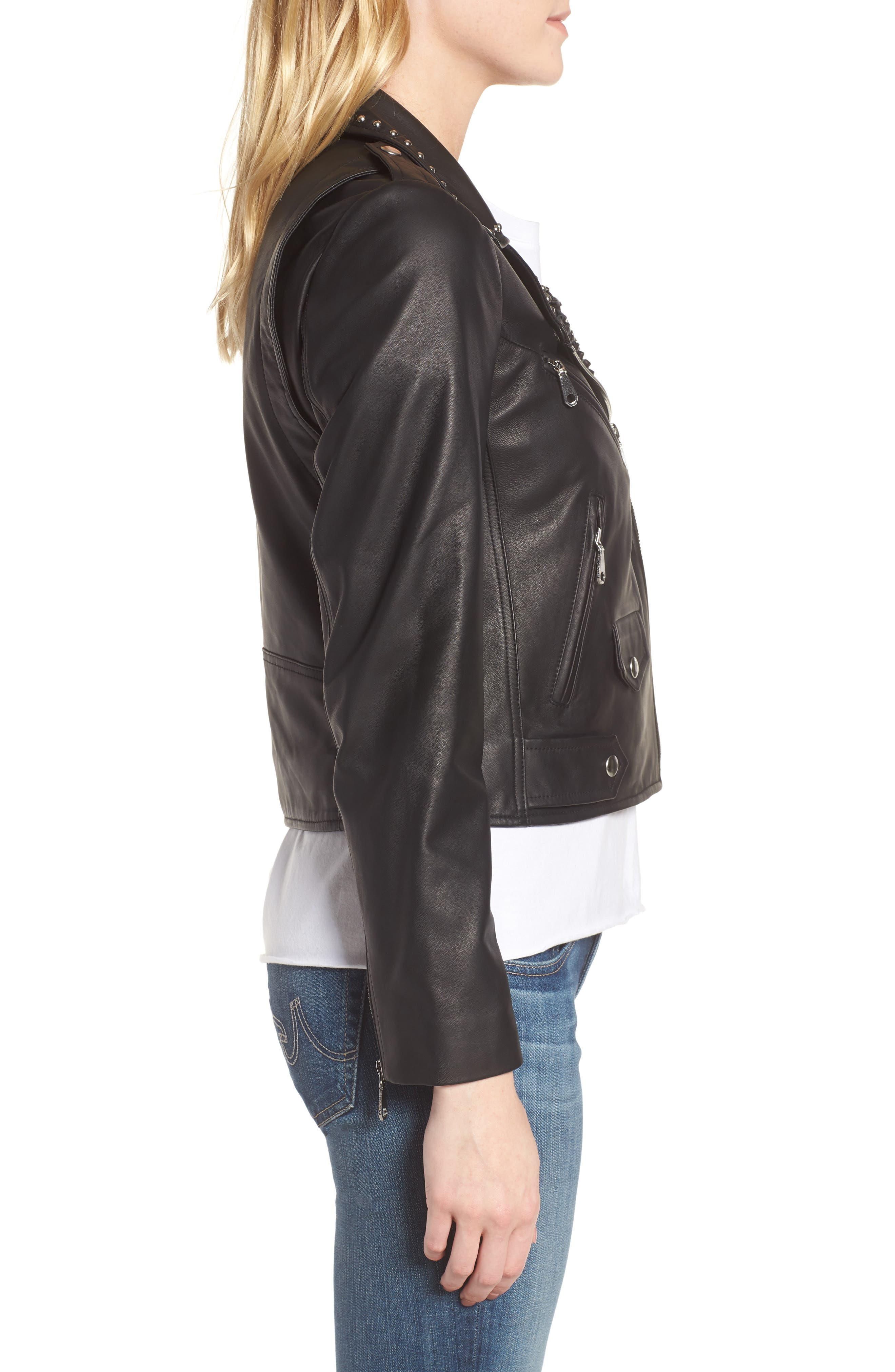 Wes Leather Moto Jacket,                             Alternate thumbnail 2, color,                             001