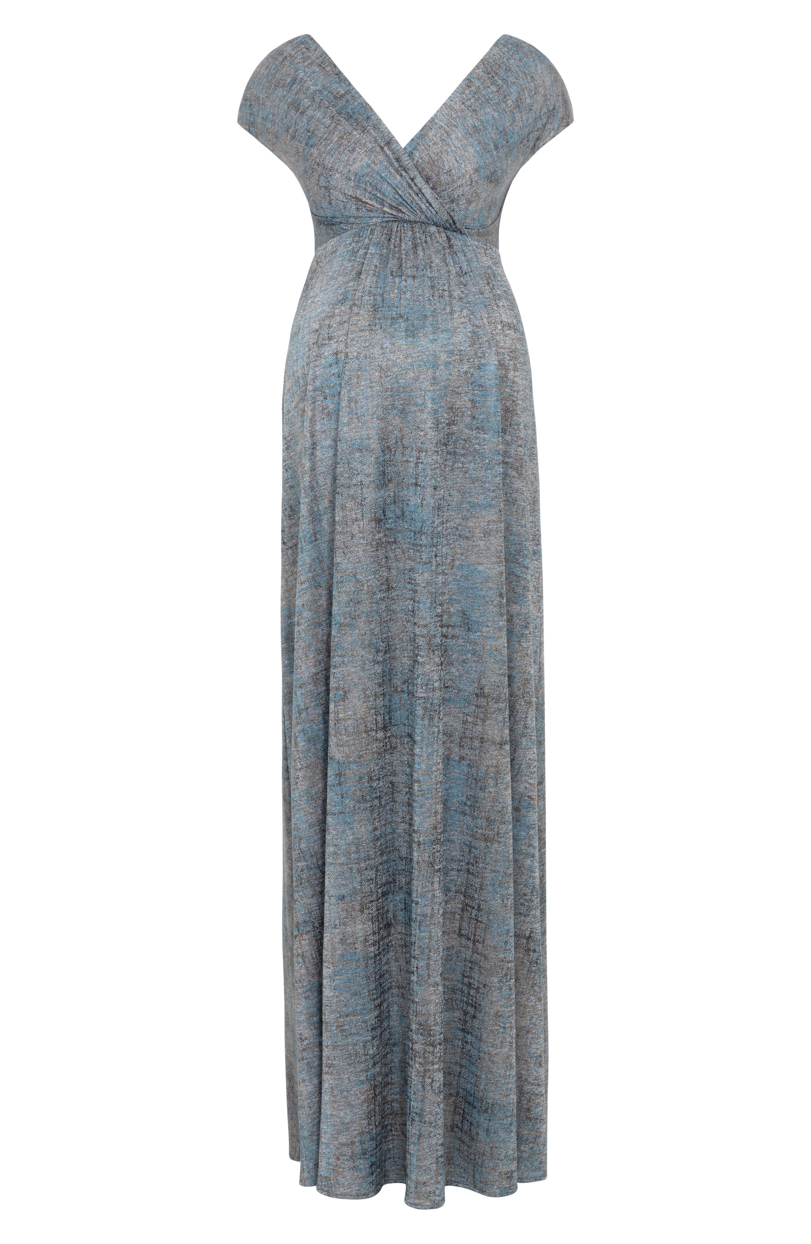 Francesca Maternity Gown,                             Alternate thumbnail 3, color,                             BRONZE BLUE
