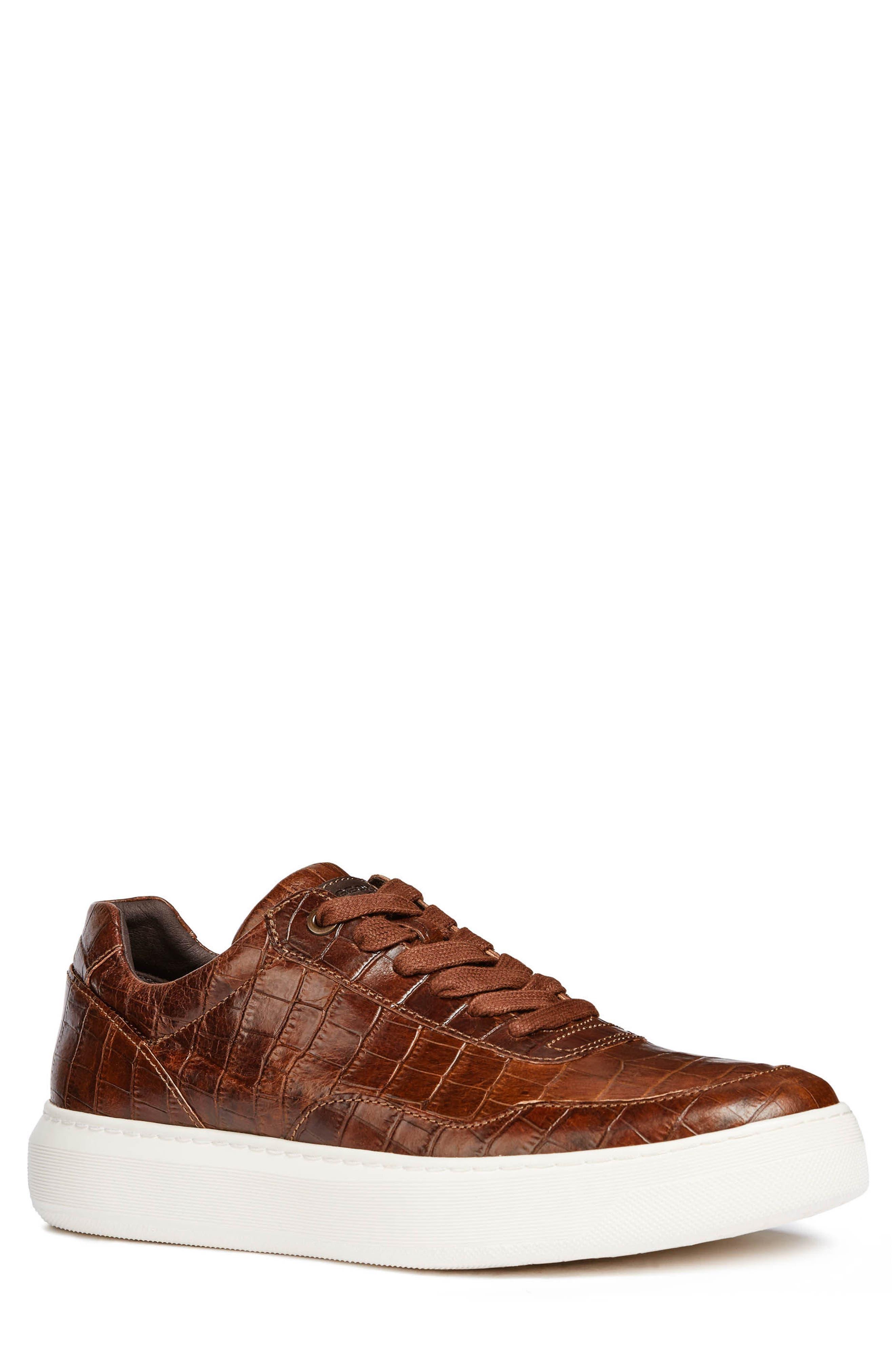 Geox Deiven 8 Croc Textured Low Top Sneaker, Brown