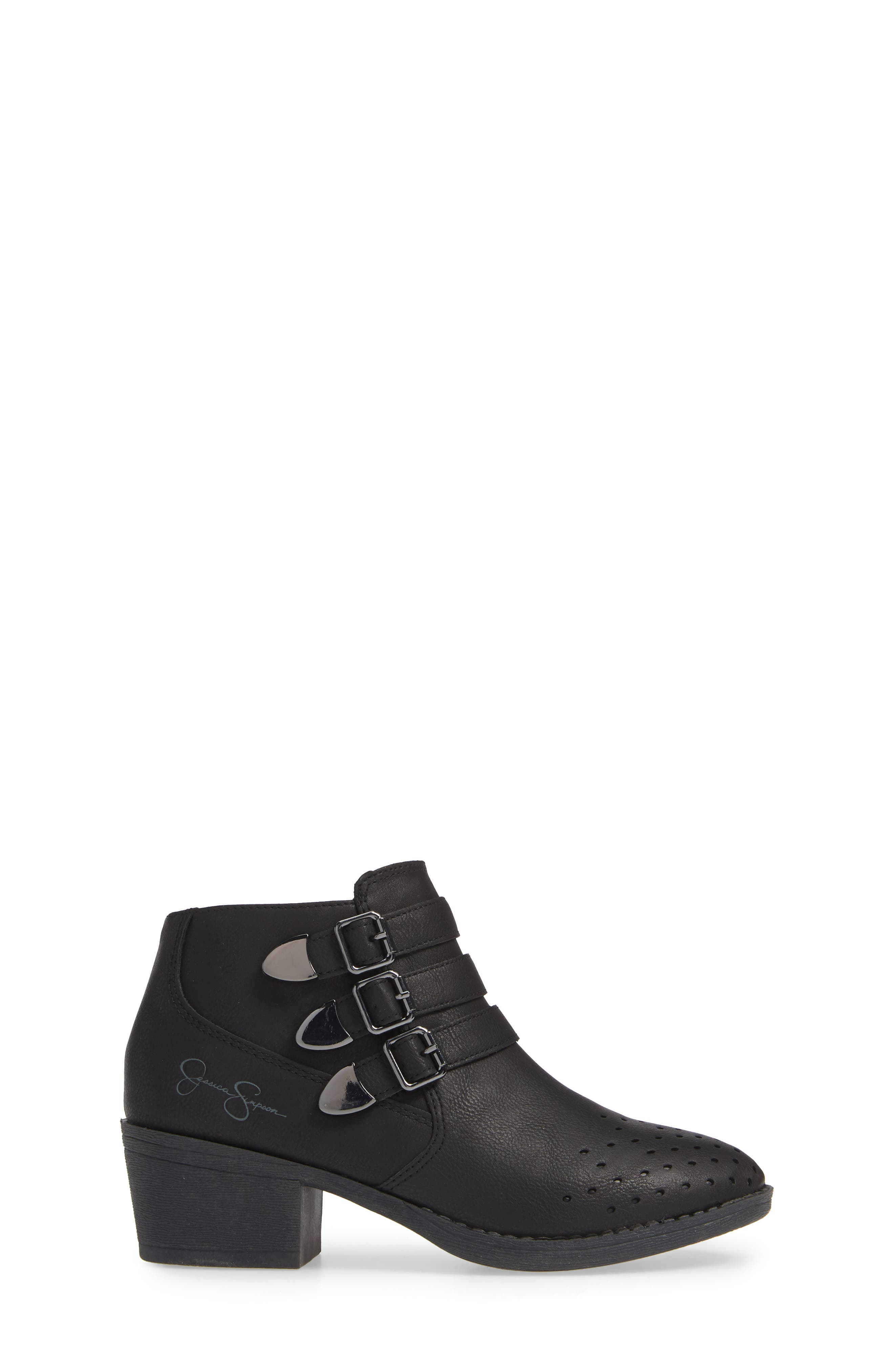 Perforated Buckle Bootie,                             Alternate thumbnail 3, color,                             BLACK HUDSON