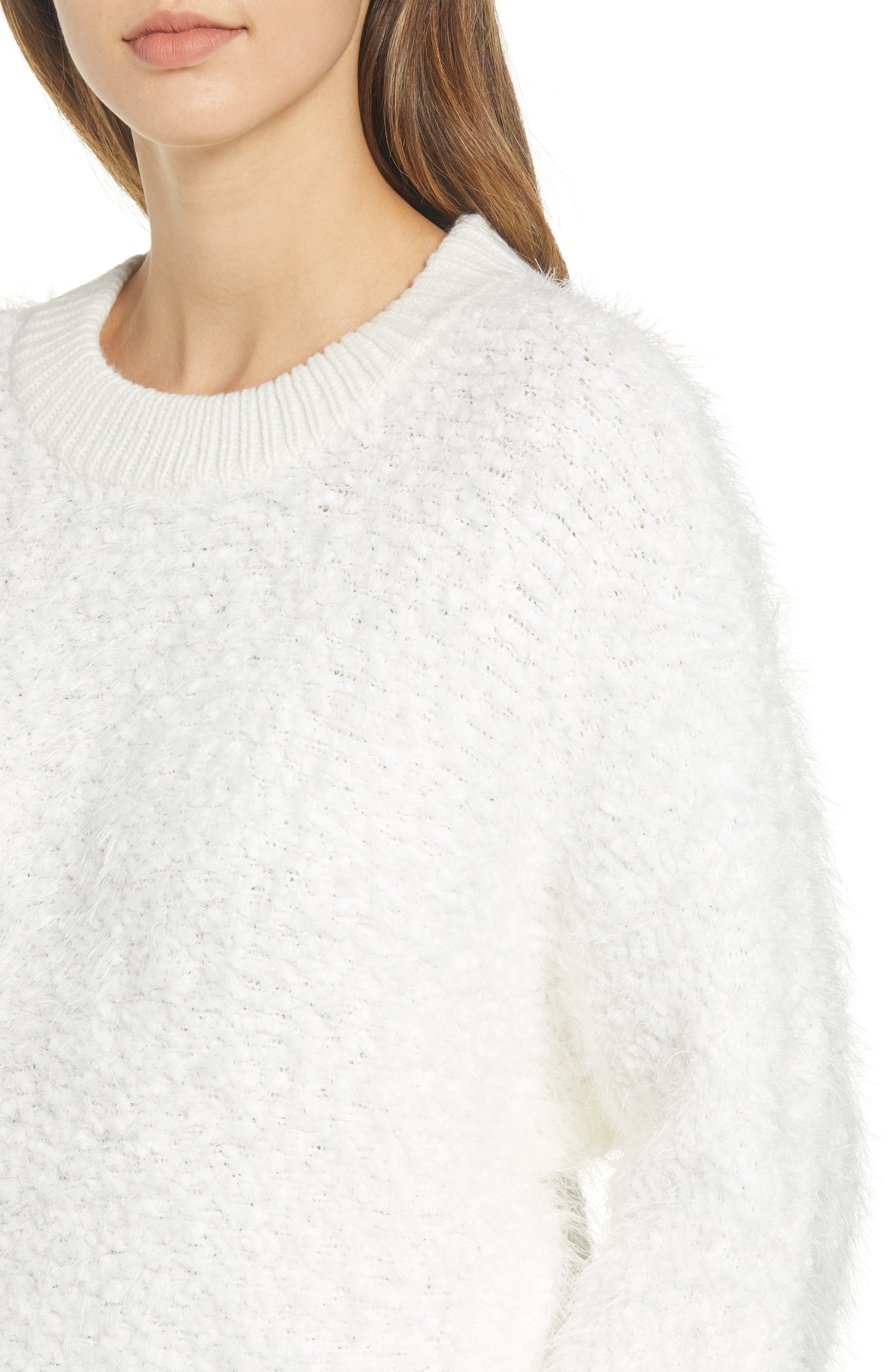 Fluffy Dolman Sweater,                             Alternate thumbnail 4, color,                             IVORY
