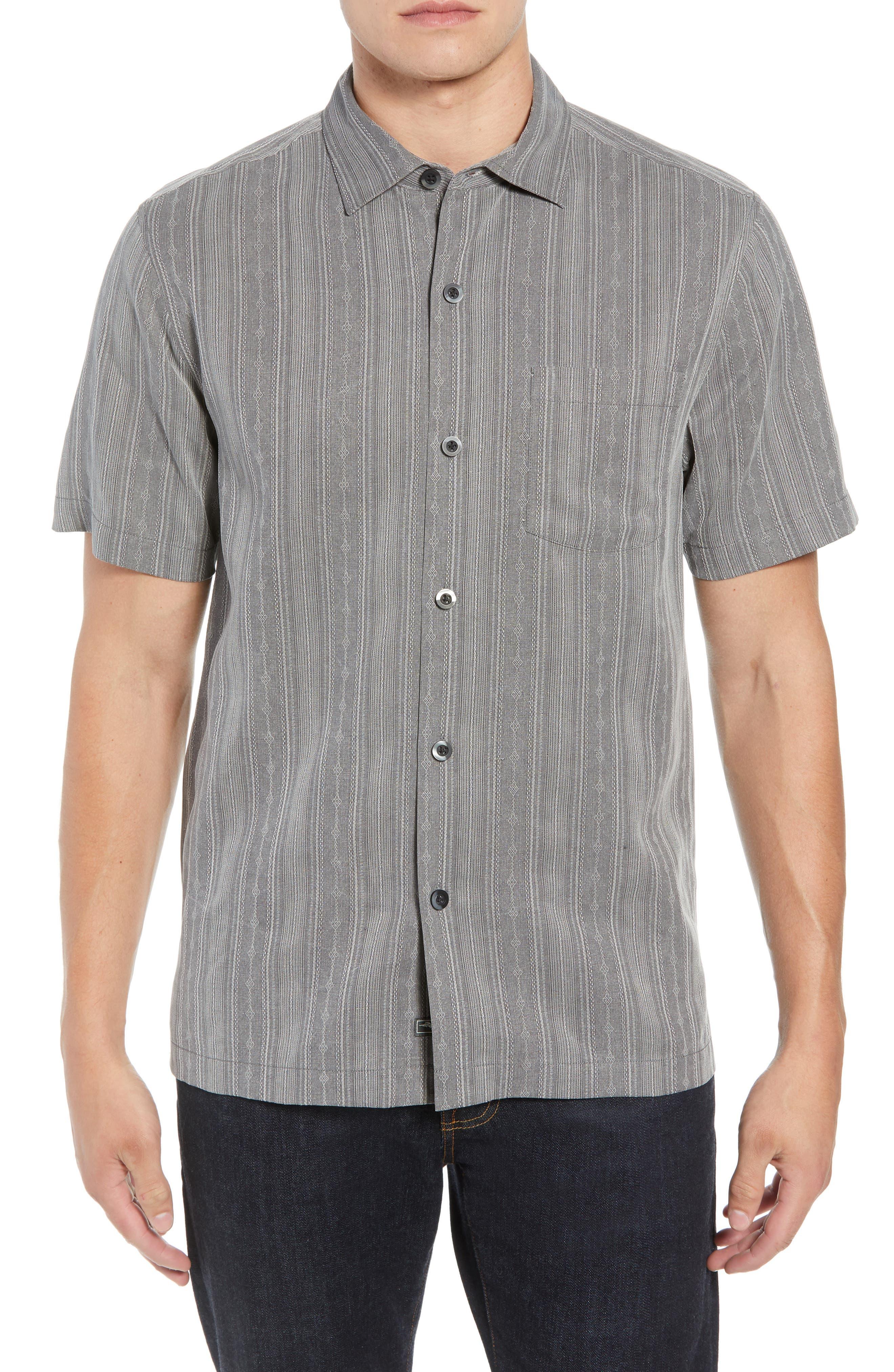 San Ramone Regular Fit Stripe Silk Shirt,                             Main thumbnail 1, color,                             CAVE