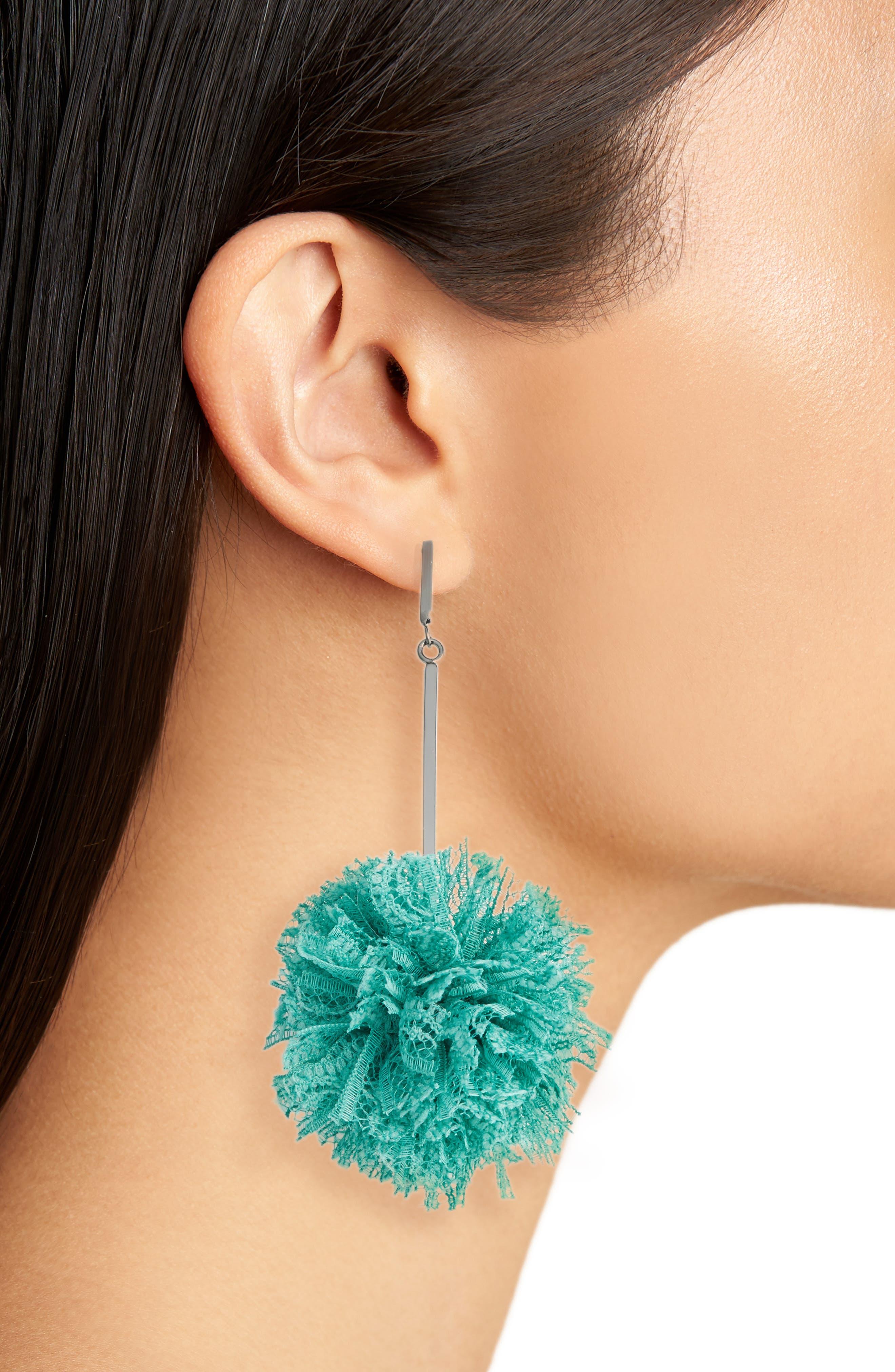 Lace Pom Pom Earrings,                             Alternate thumbnail 6, color,
