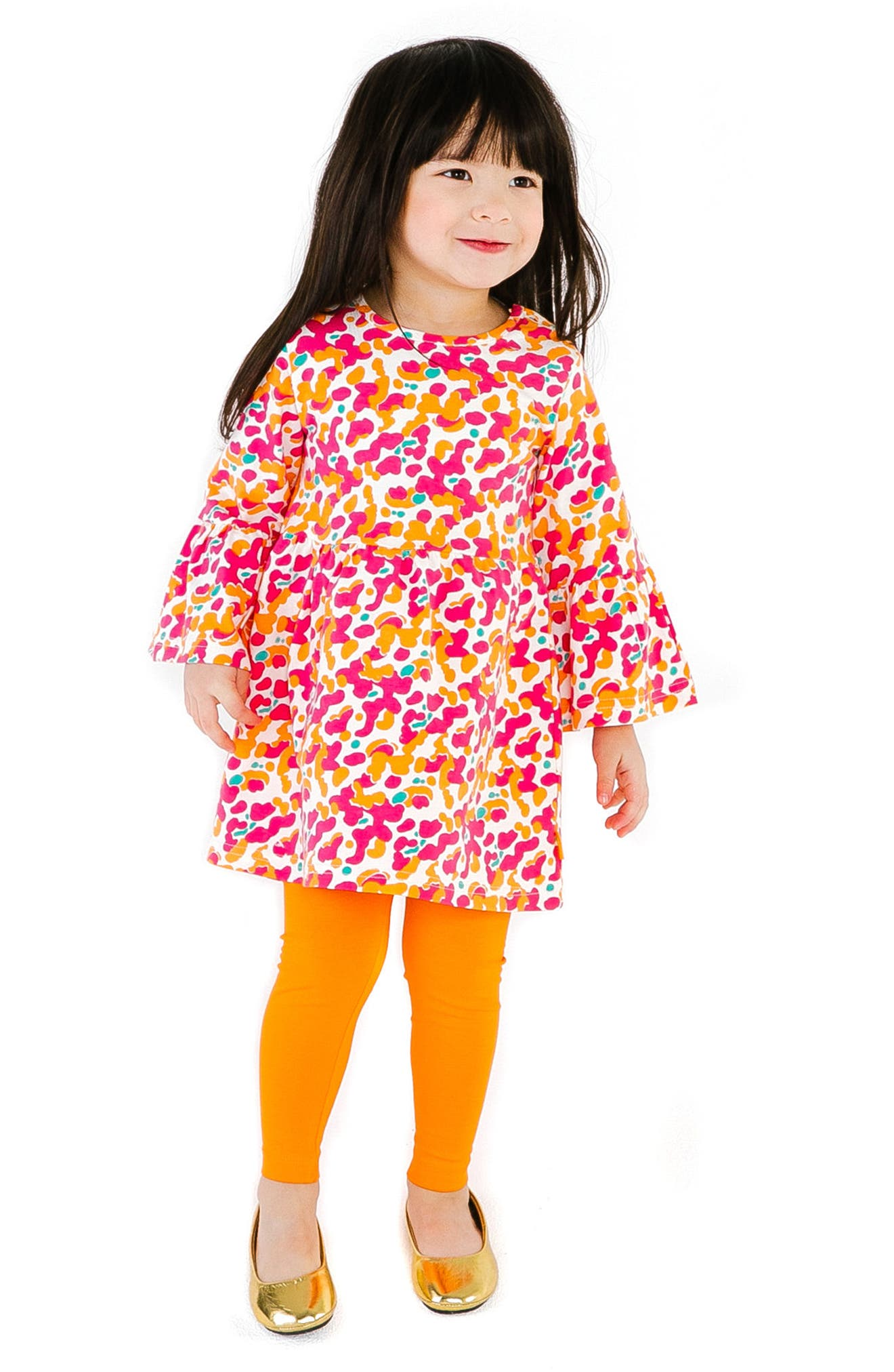 Spotted Stretch Organic Cotton Dress,                             Alternate thumbnail 3, color,                             PINK