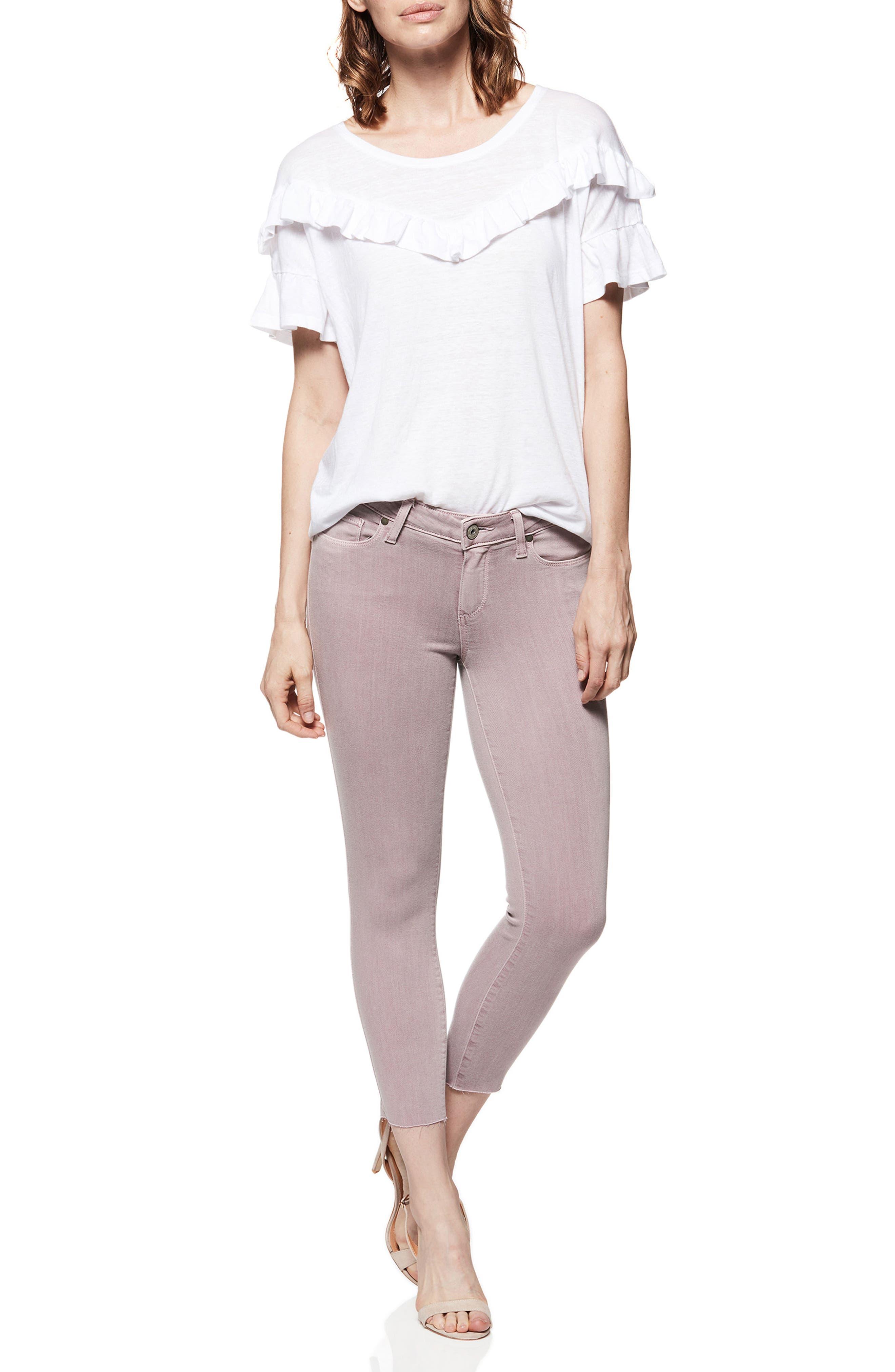 Transcend - Verdugo Raw Hem Crop Skinny Jeans,                             Alternate thumbnail 3, color,                             VINTAGE LAVENDAR BLOOMS