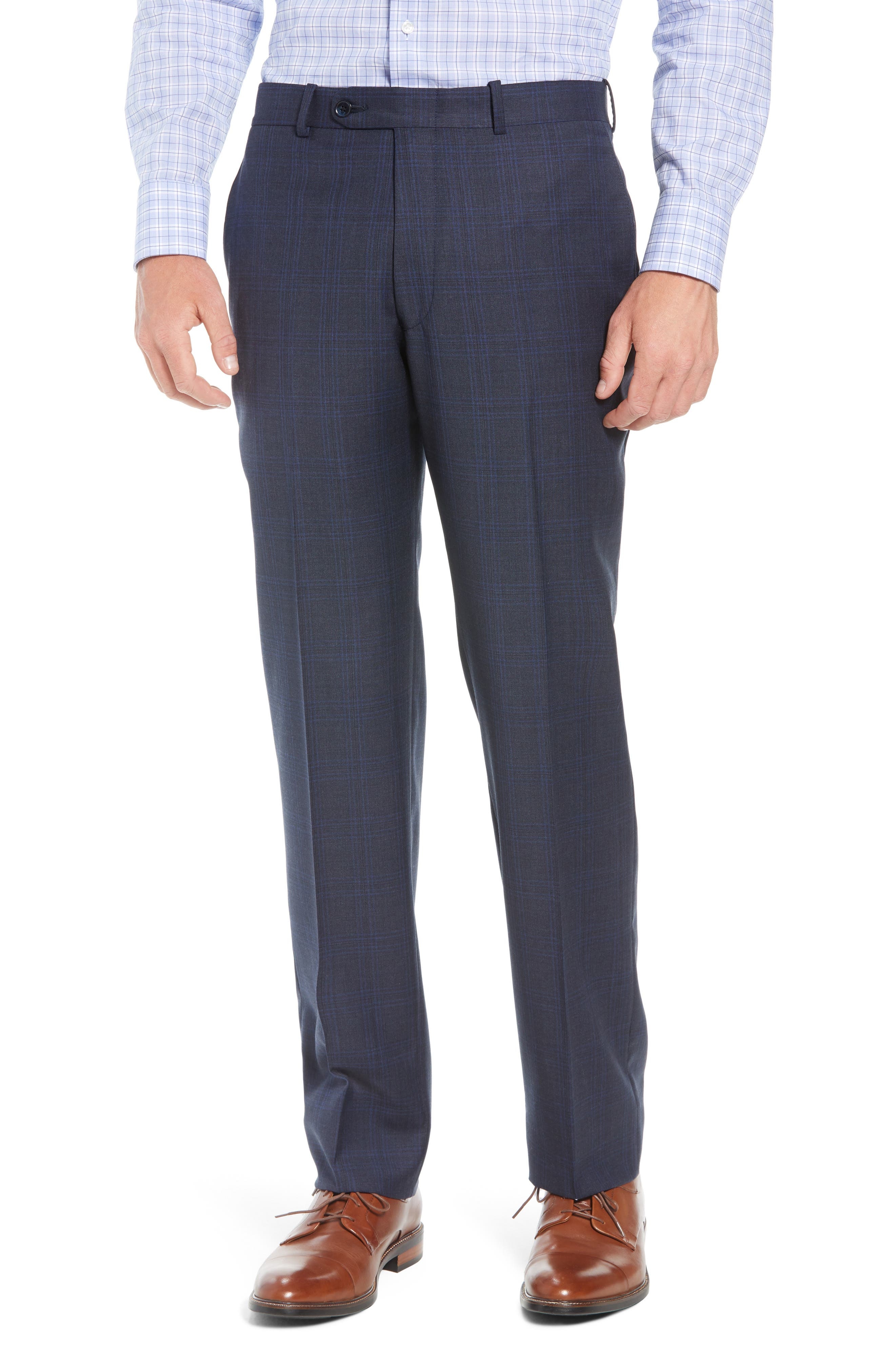 Flynn Classic Fit Plaid Wool Suit,                             Alternate thumbnail 6, color,                             NAVY