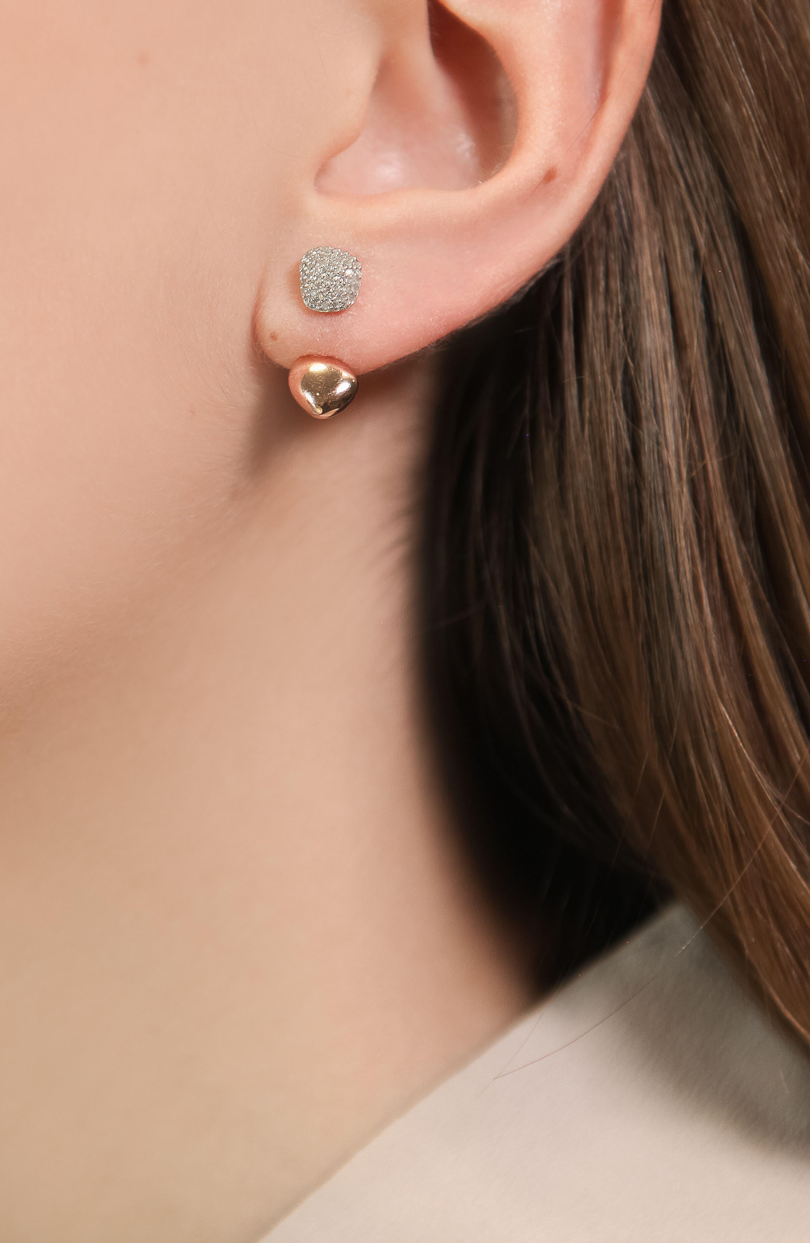 Nura Nugget Diamond Jacket Earrings,                             Alternate thumbnail 2, color,                             ROSE GOLD