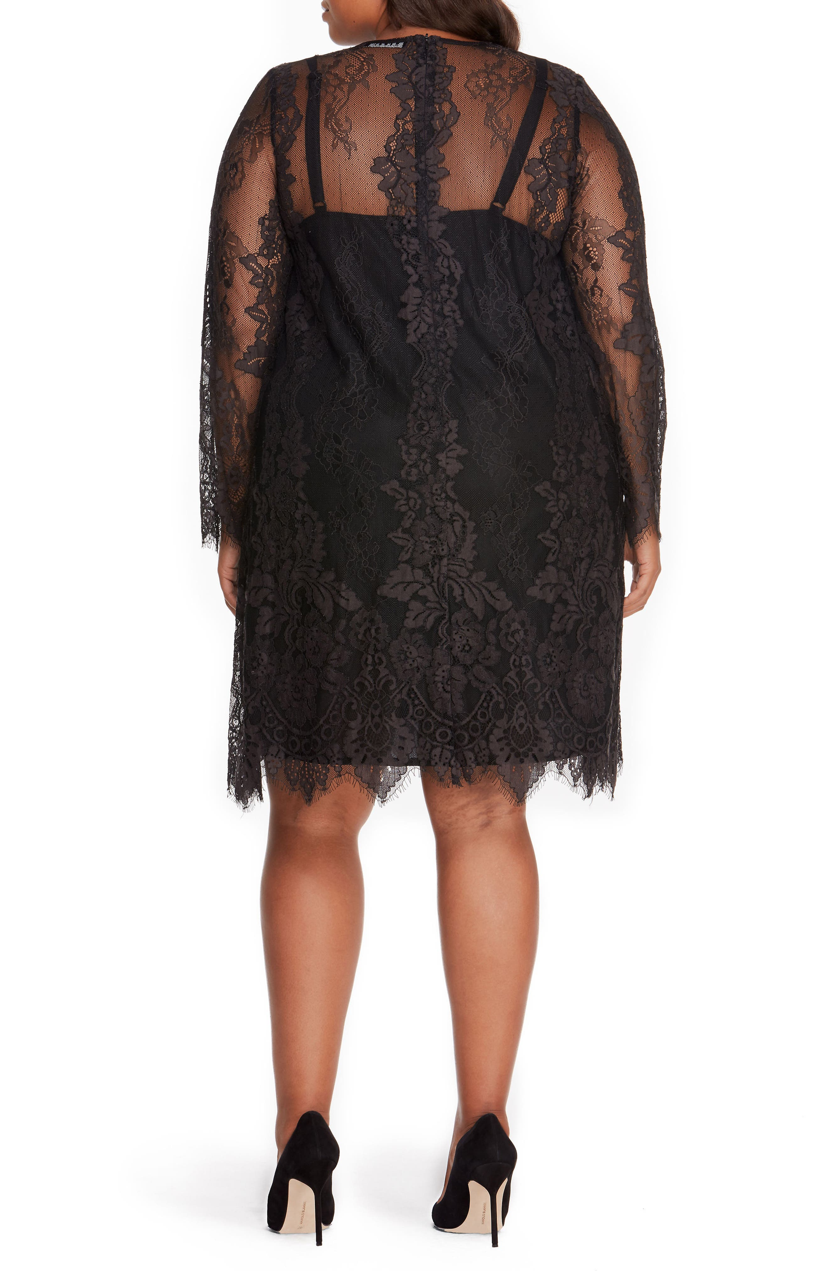 Lace Overlay Dress,                             Alternate thumbnail 2, color,                             001