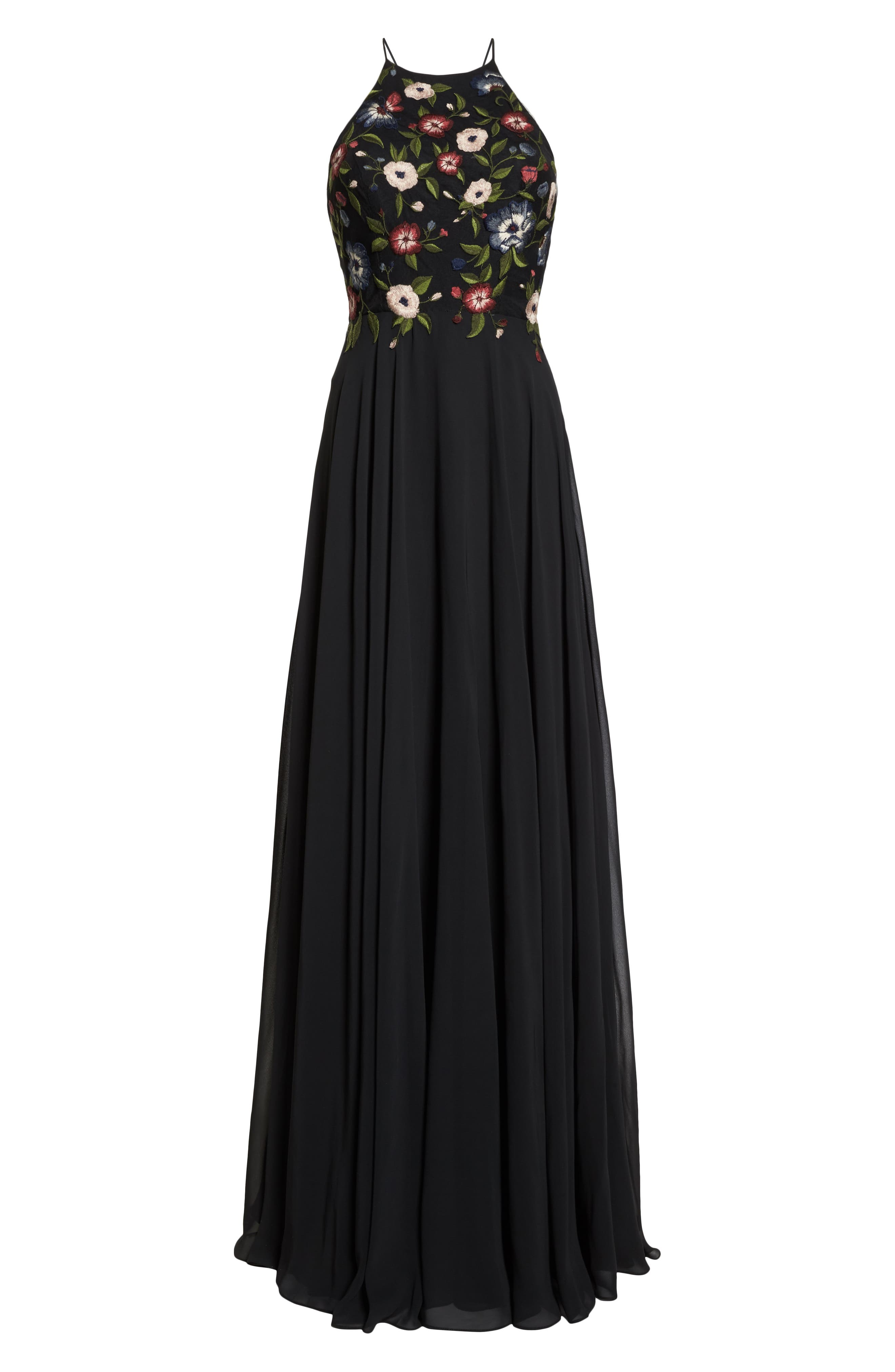 Sophie Embroidered Luxe Chiffon Gown,                             Alternate thumbnail 7, color,                             BLACK MULTI