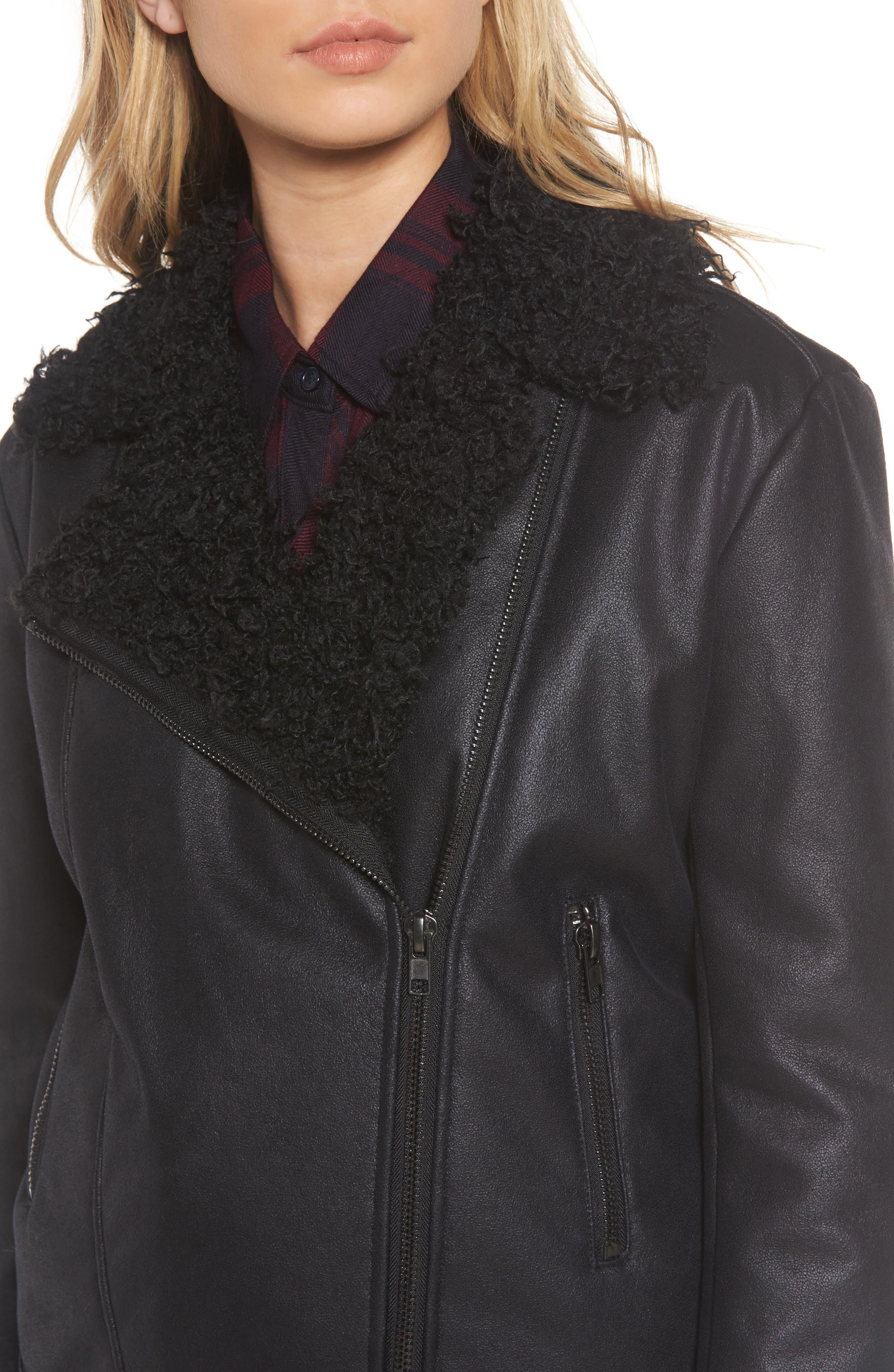 Bosworth Faux Shearling Jacket,                             Alternate thumbnail 4, color,                             001