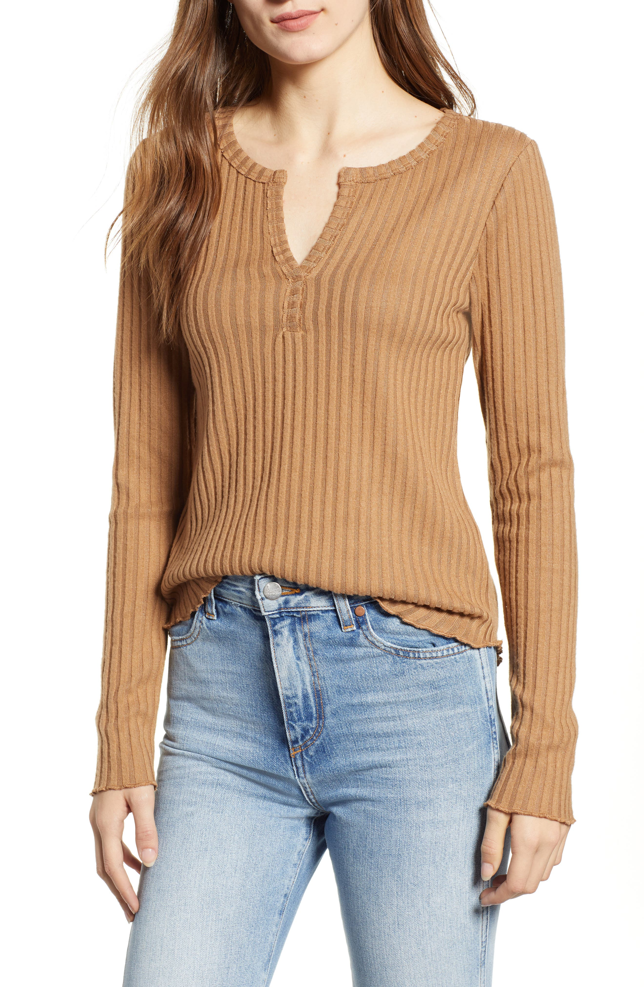 Rib Knit Henley,                         Main,                         color, TAN BURRO