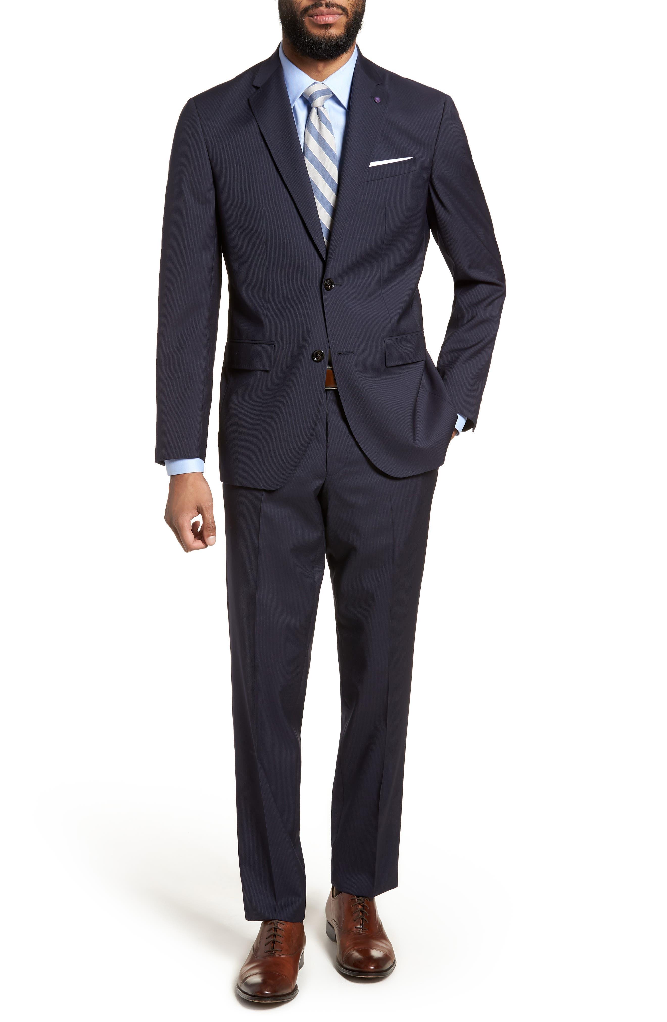 Jay Trim Fit Stripe Wool Suit,                             Main thumbnail 1, color,                             NAVY