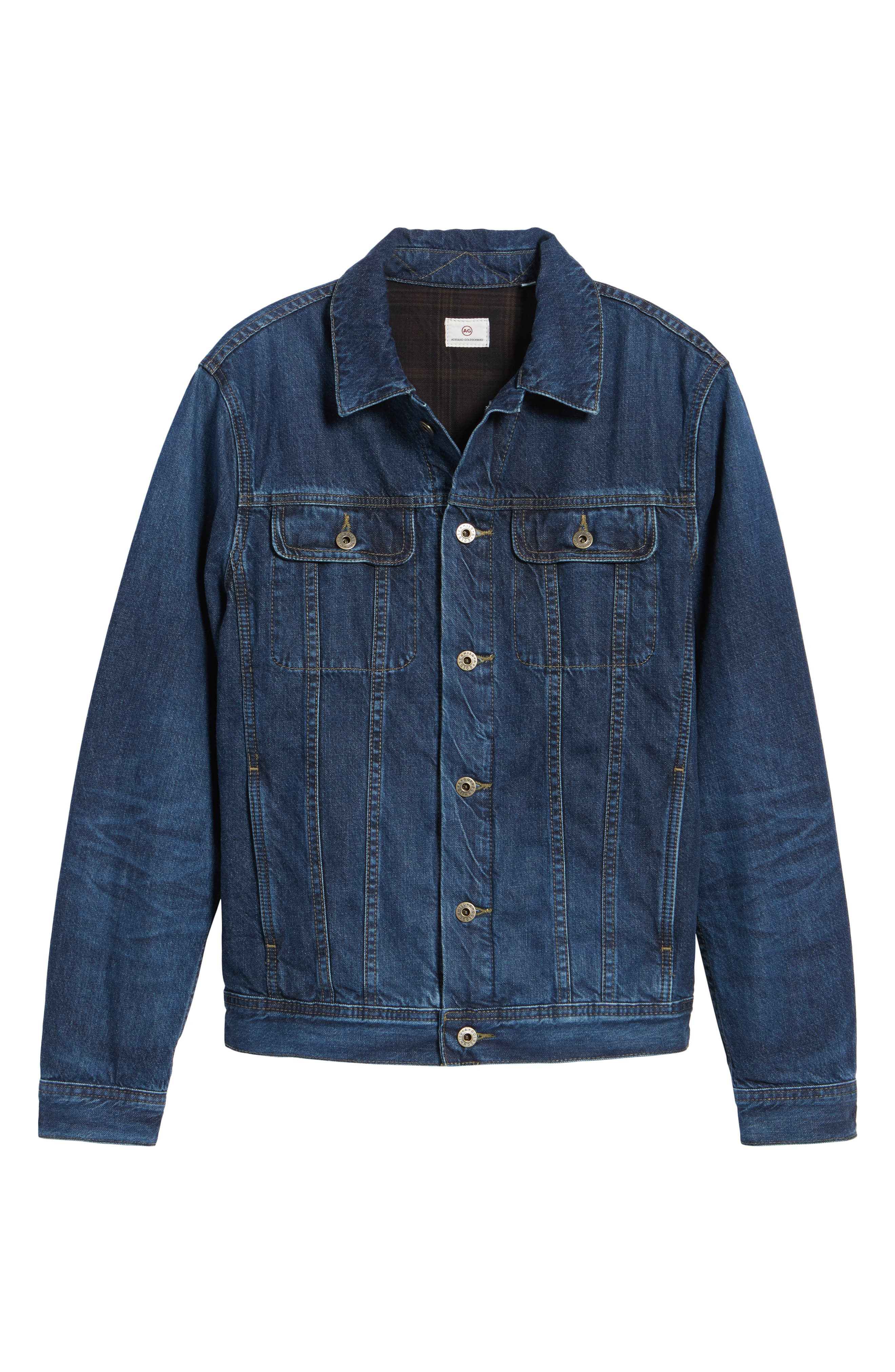 Regular Fit Lined Denim Jacket,                             Alternate thumbnail 5, color,