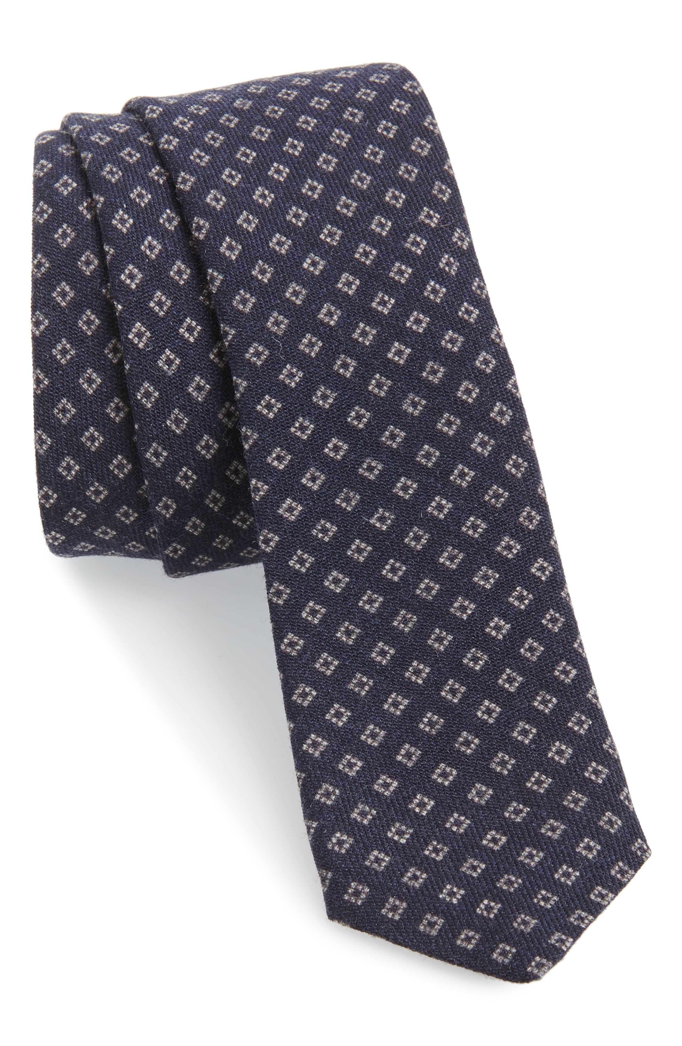 Neat Wool Skinny Tie,                         Main,                         color, NAVY