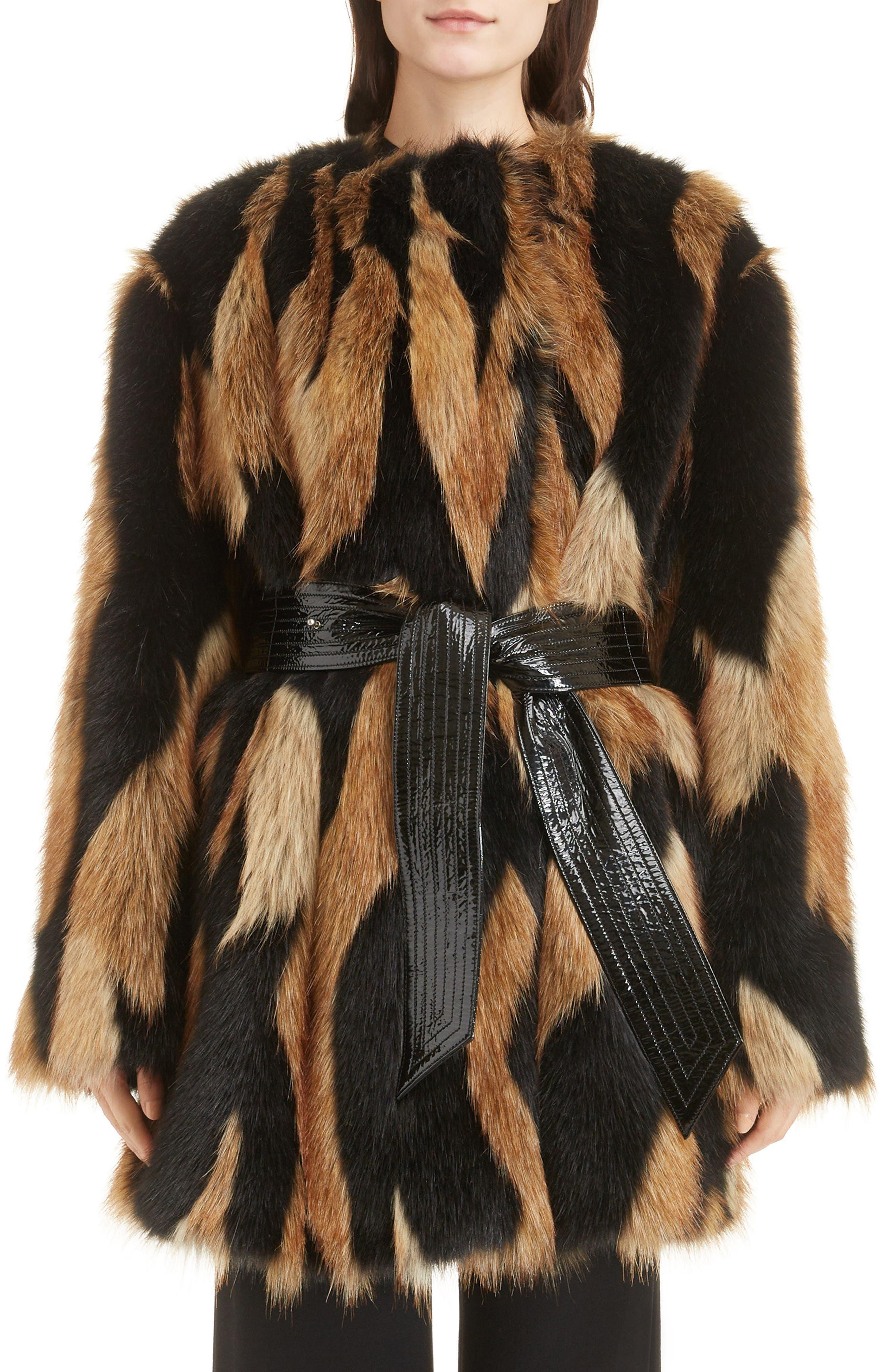 Bicolor Faux Fur Coat,                             Main thumbnail 1, color,                             002