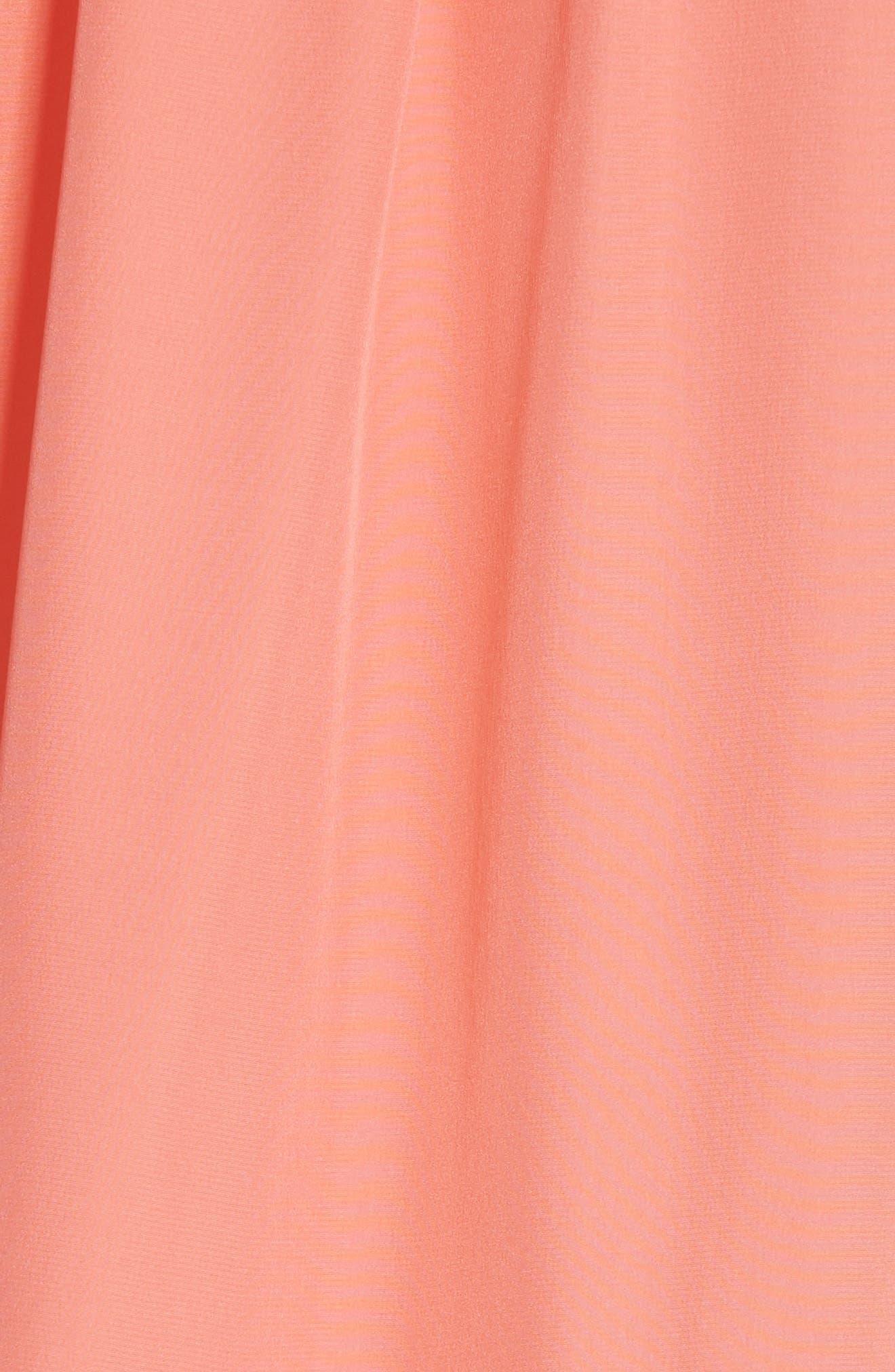 drop waist silk dress,                             Alternate thumbnail 6, color,                             APRICOT SORBET