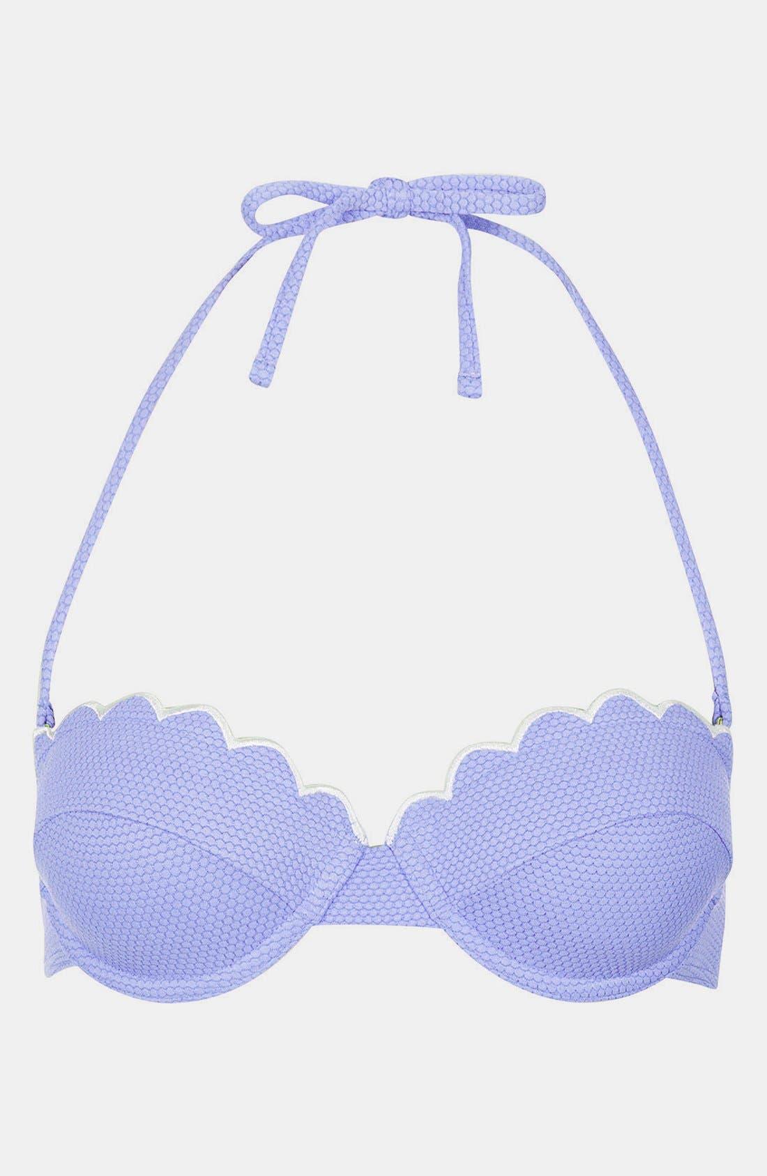 'Cornflower' Scalloped Bikini Top,                         Main,                         color, 450
