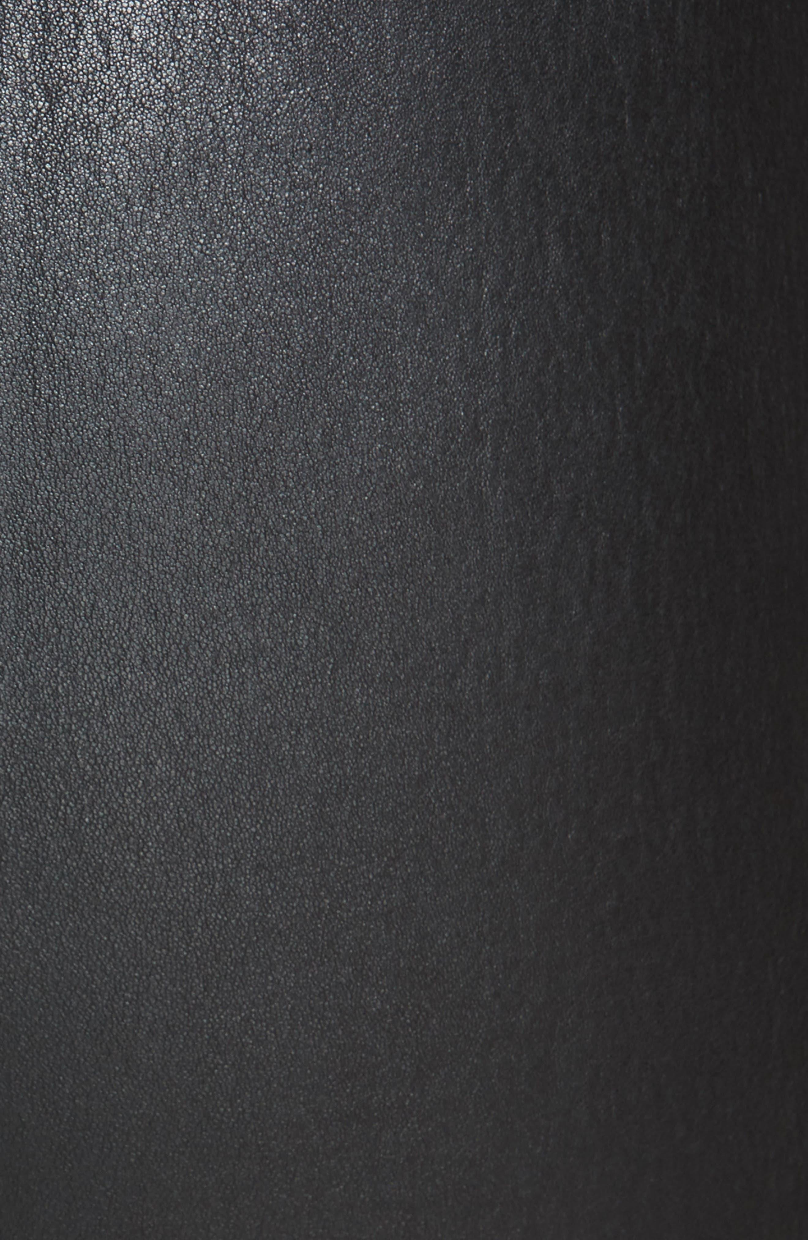 Leather Zip Leggings,                             Alternate thumbnail 6, color,                             BLACK