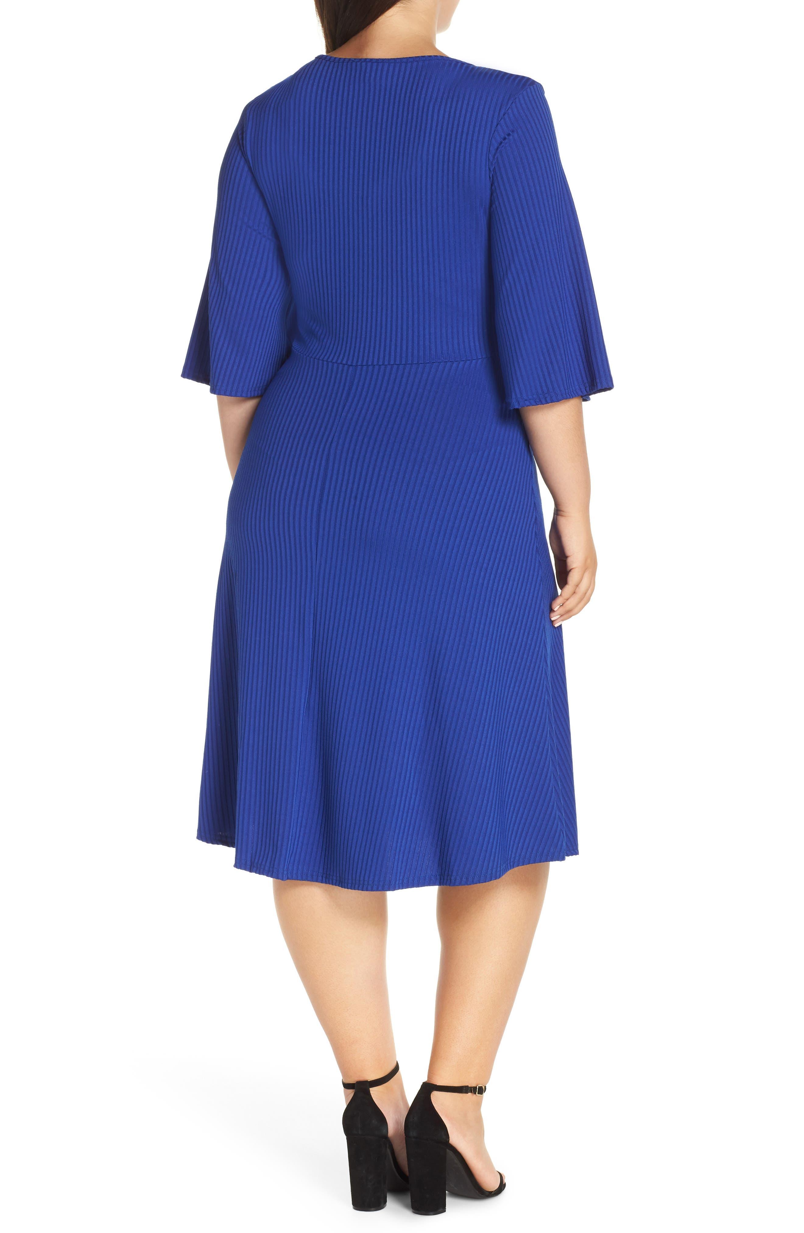 Ribbed Knit Skater Dress,                             Alternate thumbnail 2, color,                             BLUE