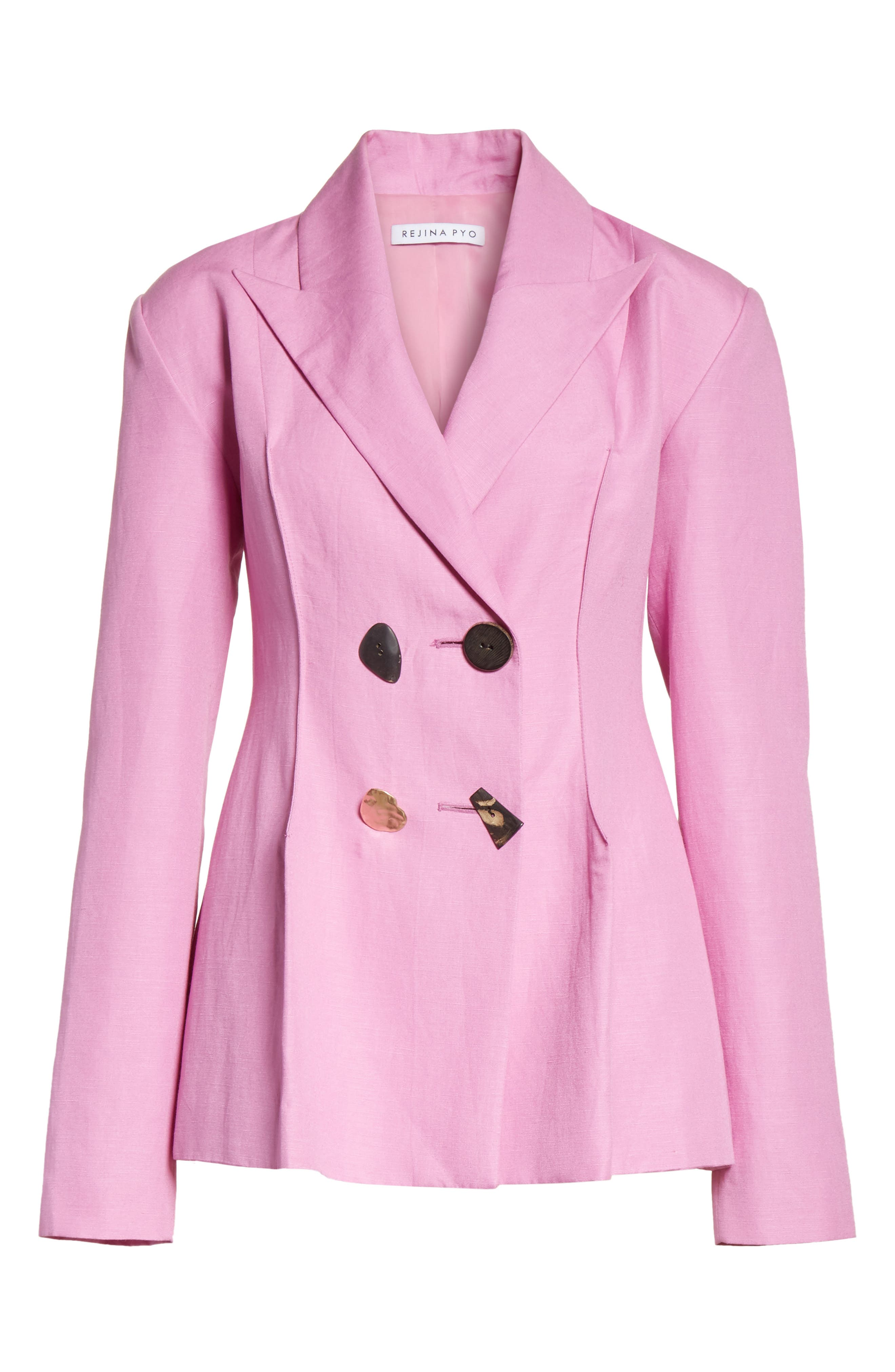 Double Breasted Jacket,                             Alternate thumbnail 6, color,                             LINEN TAFFY PINK