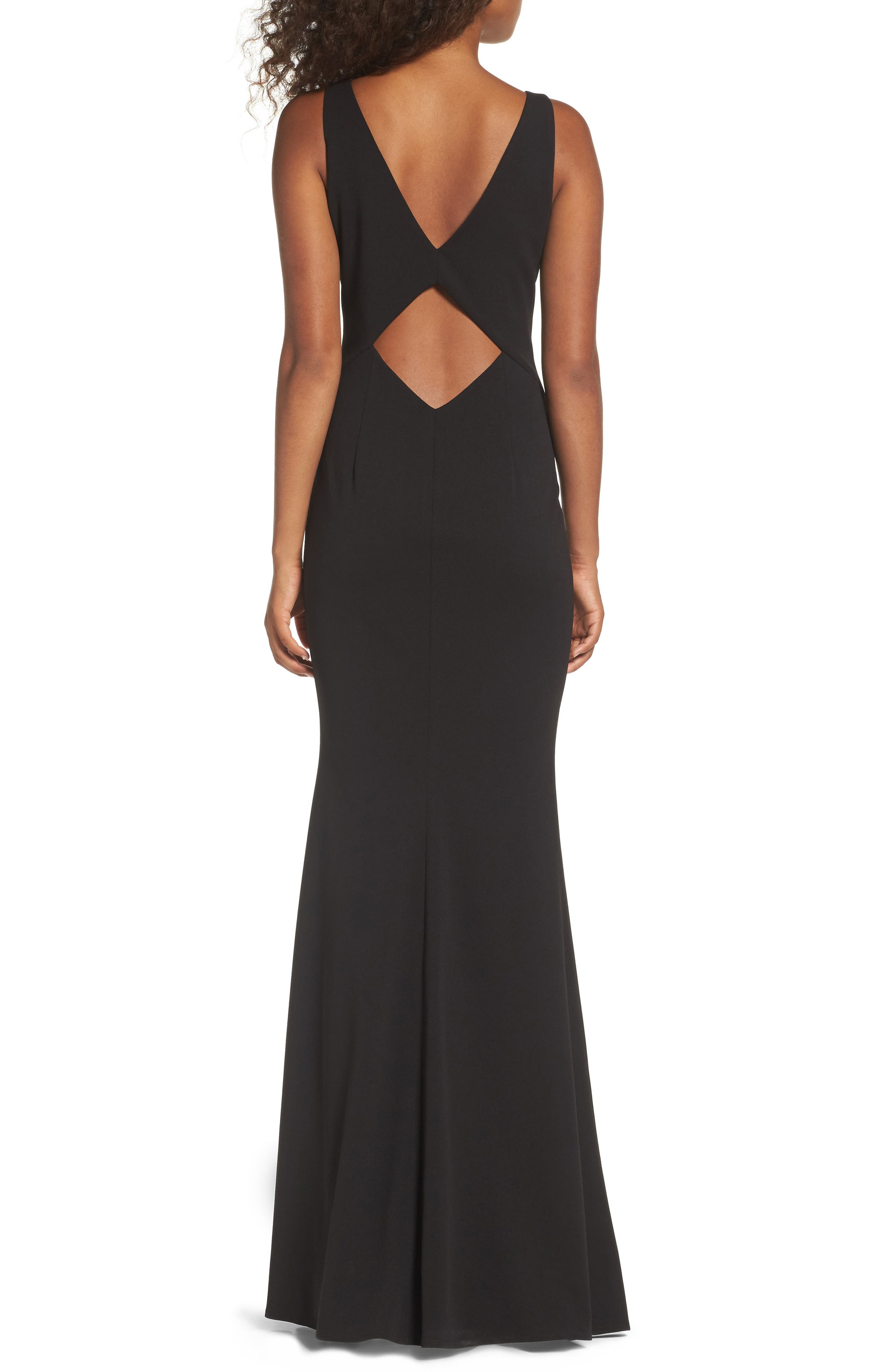 KATIE MAY,                             Mischka V-Neck Crepe Gown,                             Alternate thumbnail 2, color,                             BLACK