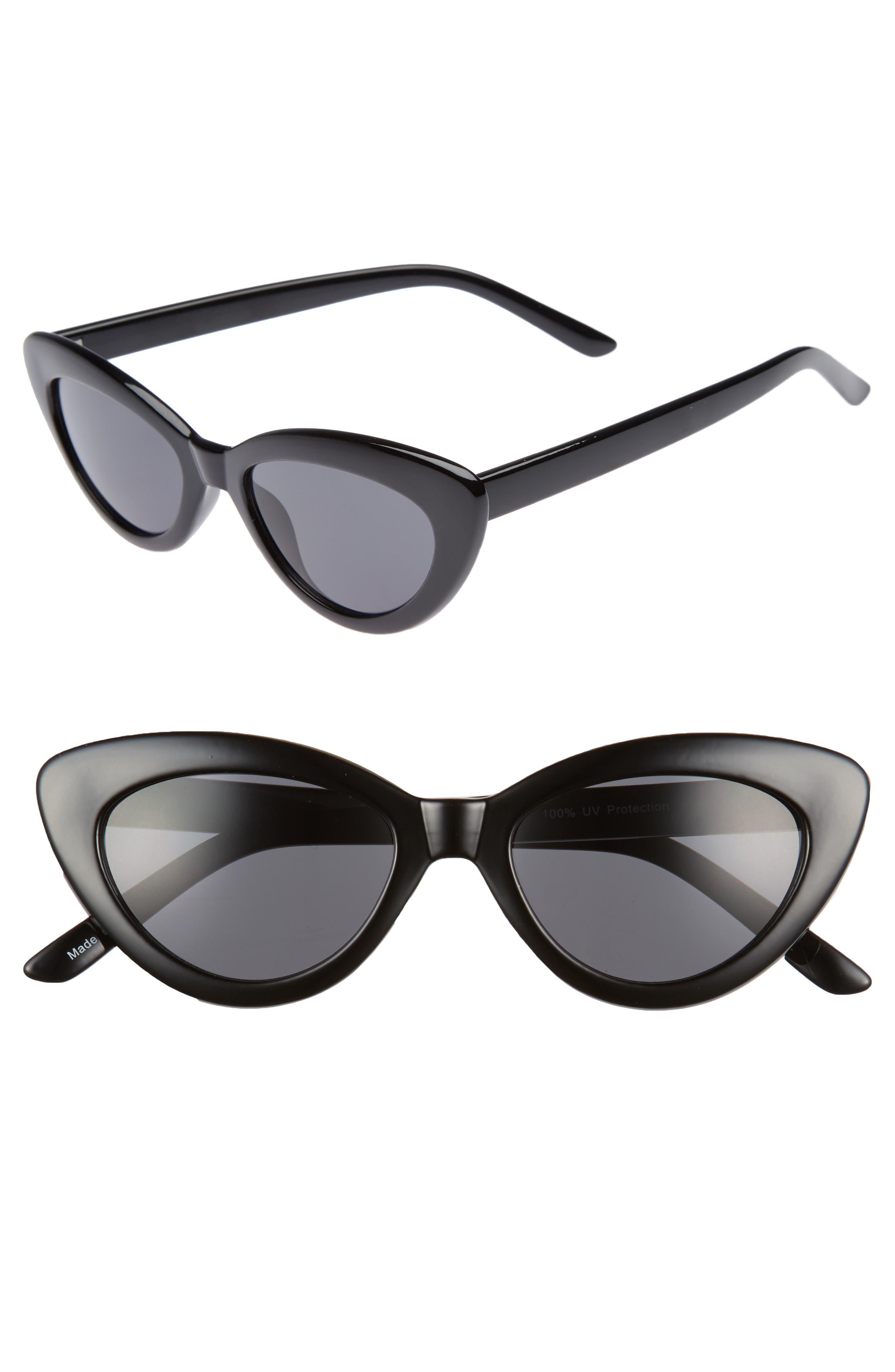 51mm Mini Cat Eye Sunglasses,                             Main thumbnail 1, color,                             001