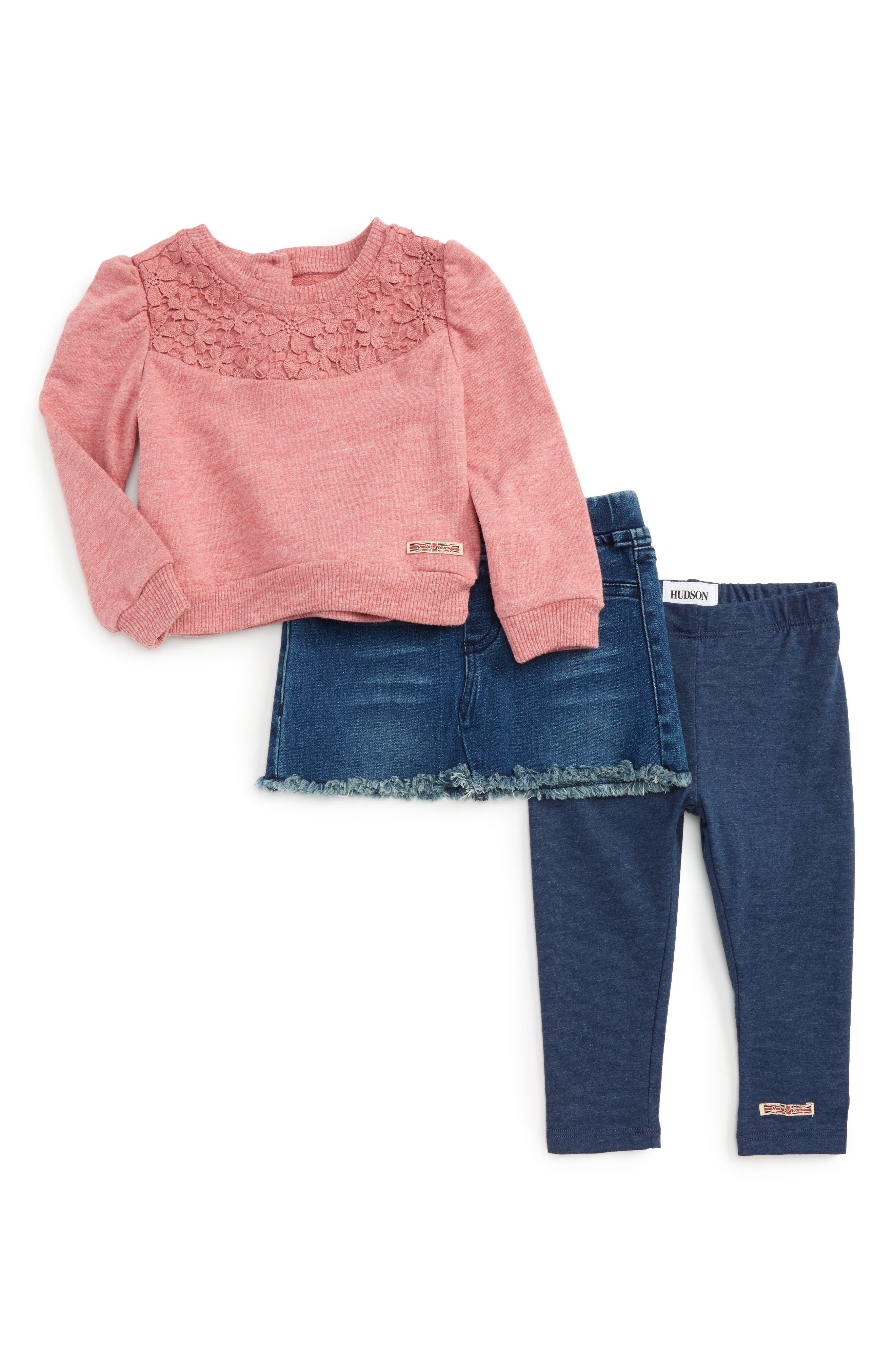 HUDSON KIDS Crochet Pullover, Denim Skirt & Leggings Set, Main, color, 430
