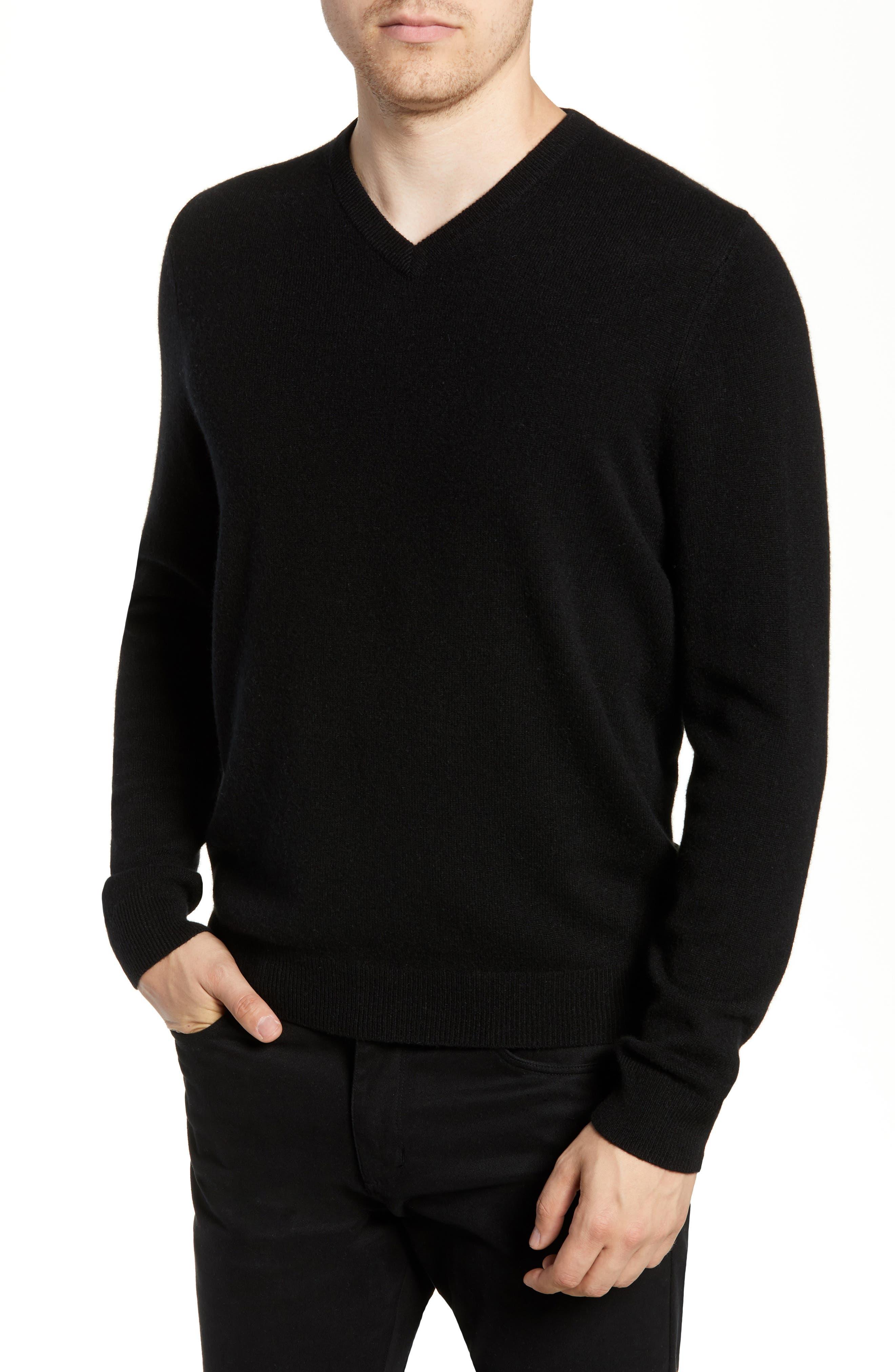 Cashmere V-Neck Sweater,                             Main thumbnail 1, color,                             BLACK CAVIAR