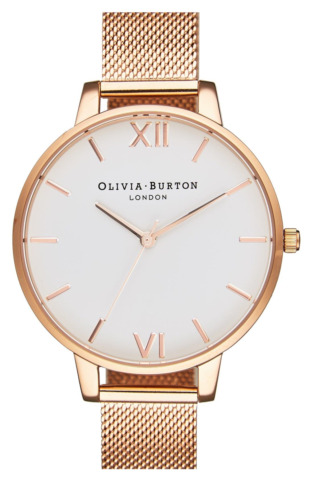 'Big Dial' Mesh Strap Watch, 38mm,                             Main thumbnail 1, color,                             ROSE GOLD/ WHITE