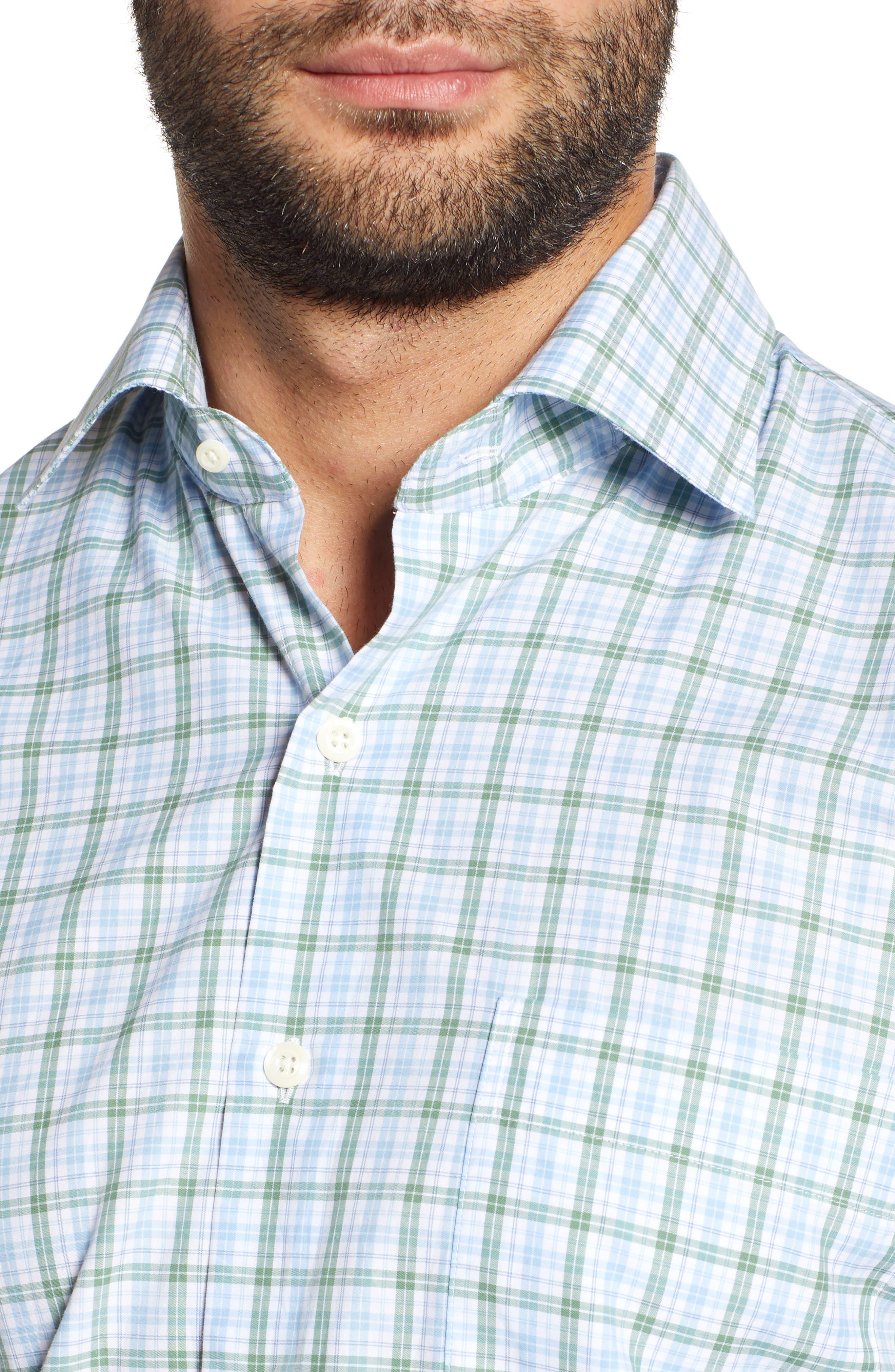 Crown Finish Linden Check Regular Fit Sport Shirt,                             Alternate thumbnail 2, color,                             BLUE