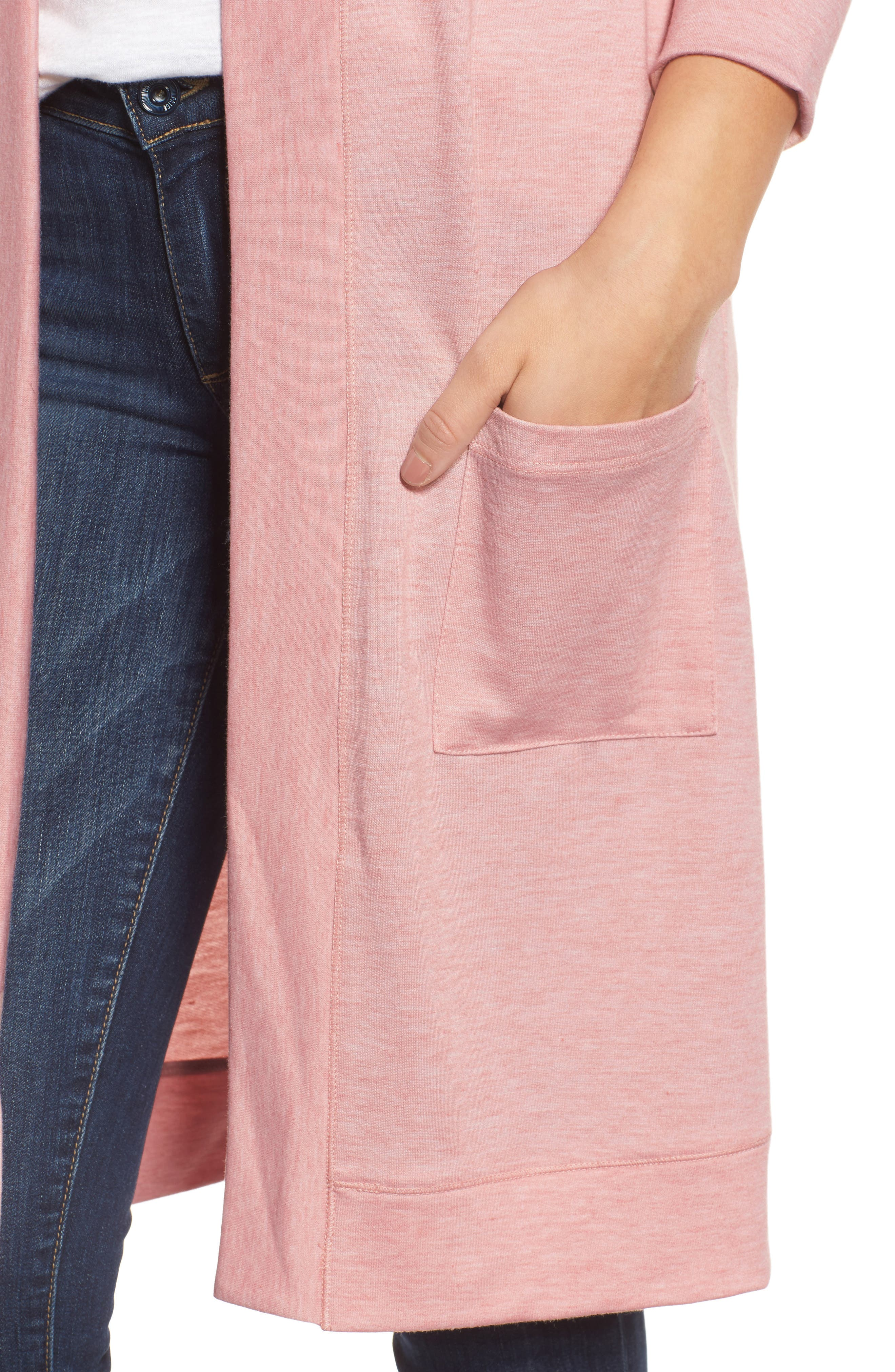 Long French Terry Cardigan,                             Alternate thumbnail 20, color,