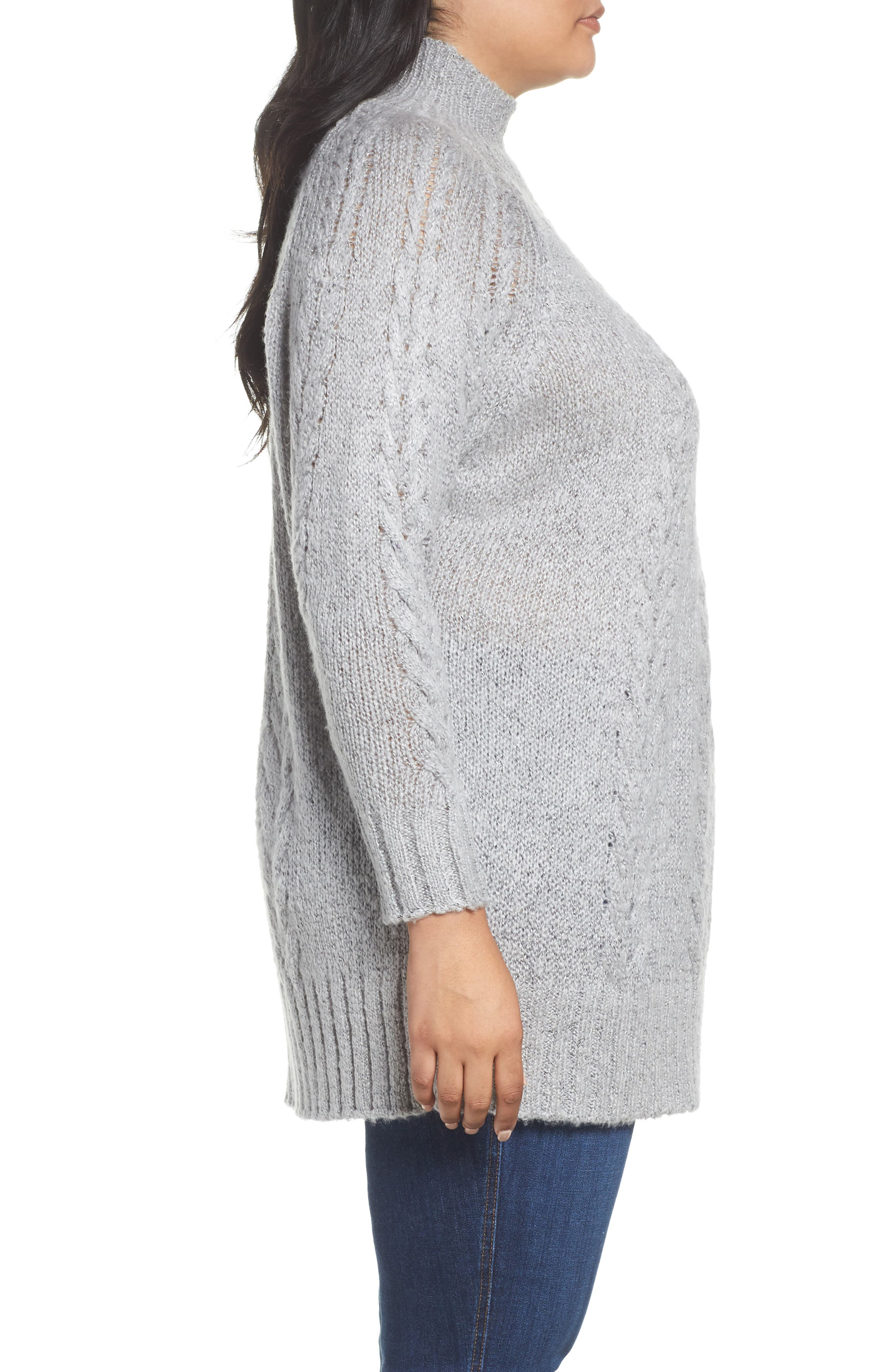 Cable Knit Tunic Sweater,                             Alternate thumbnail 3, color,                             030