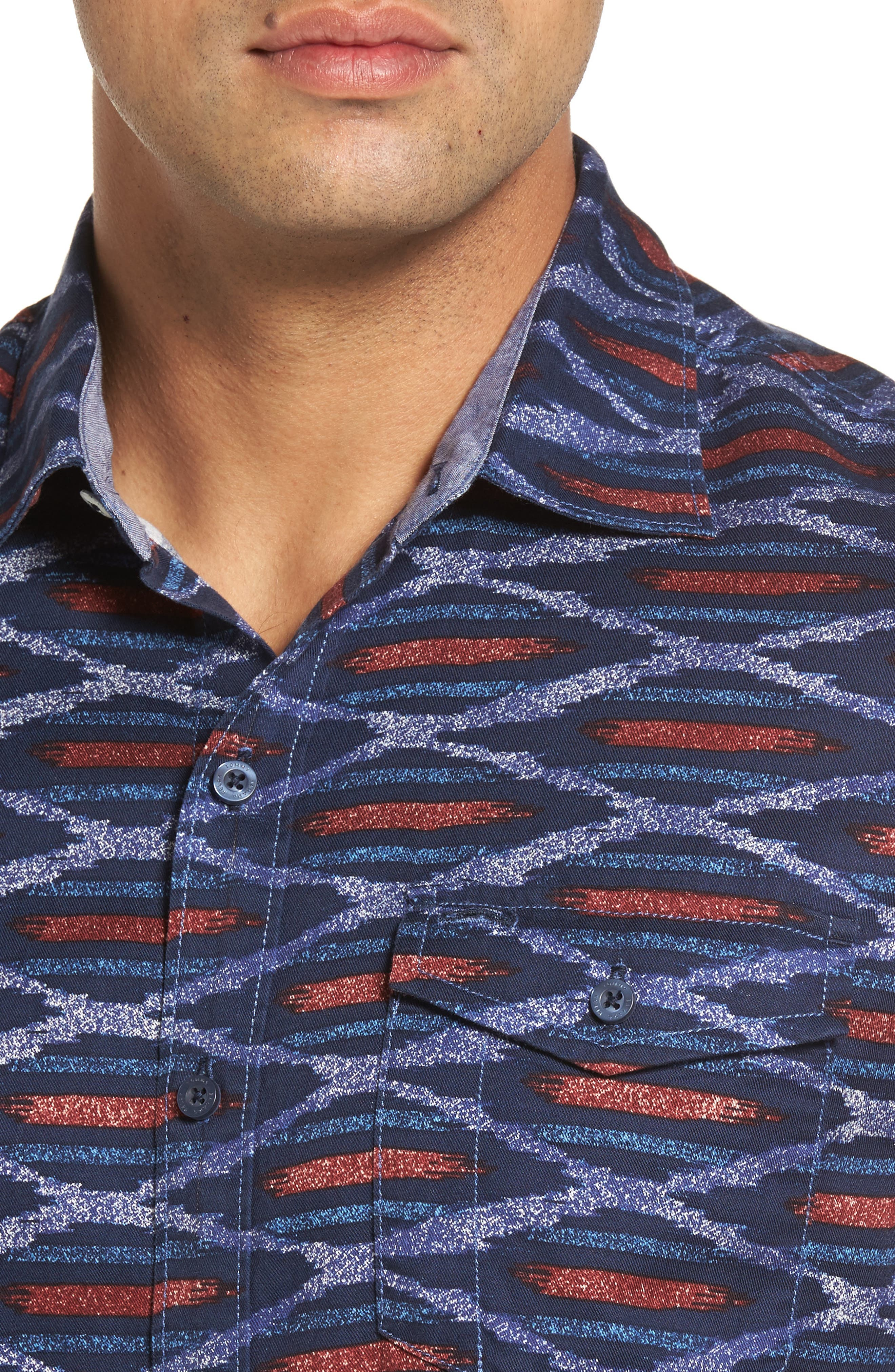 Island Ikat Standard Fit Geo Print Woven Shirt,                             Alternate thumbnail 4, color,                             401