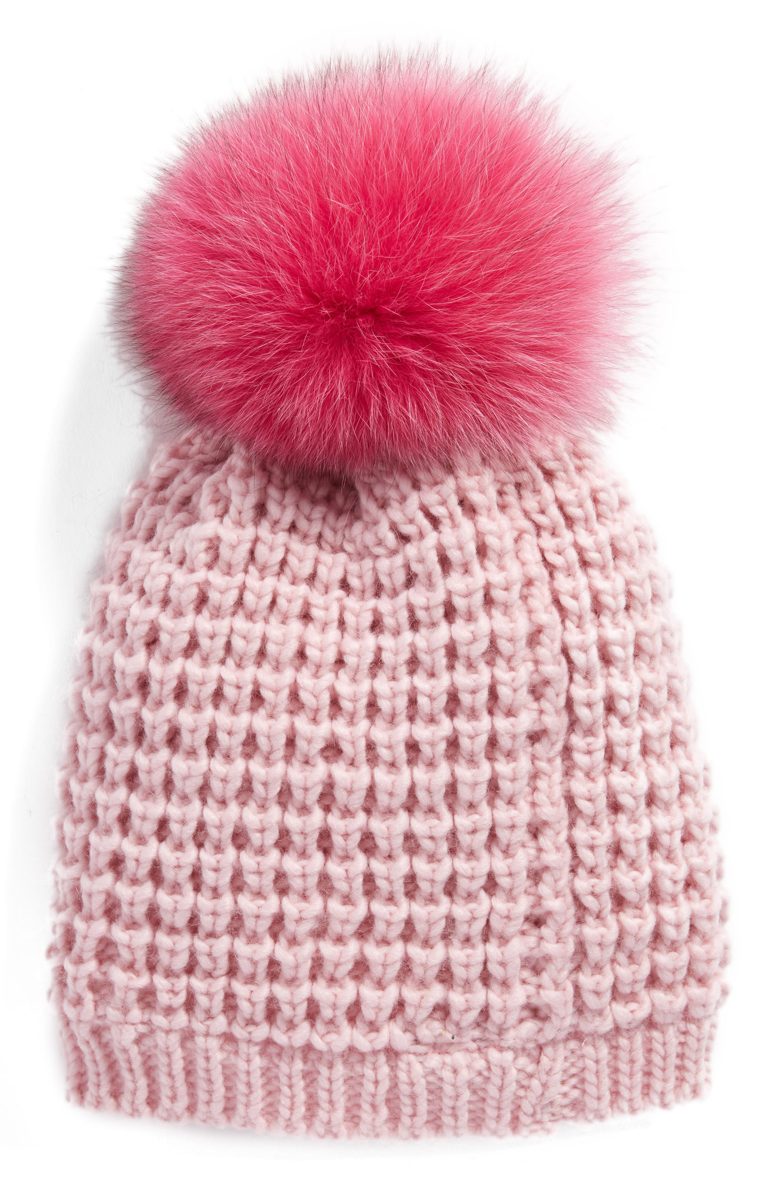 Genuine Fox Pompom Hat,                             Alternate thumbnail 33, color,