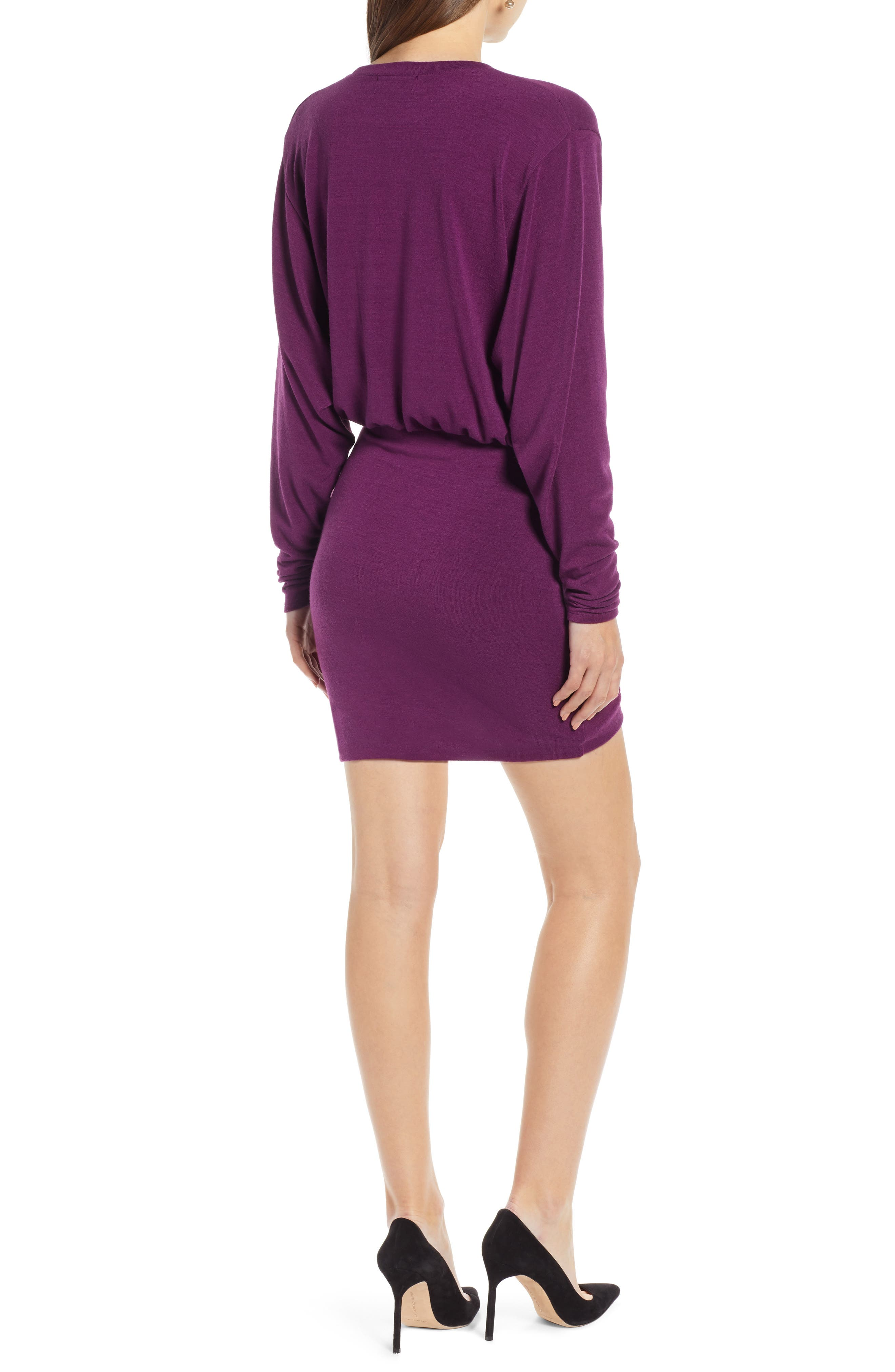 Ruched Detail Dress,                             Alternate thumbnail 2, color,                             PURPLE IMPERIAL