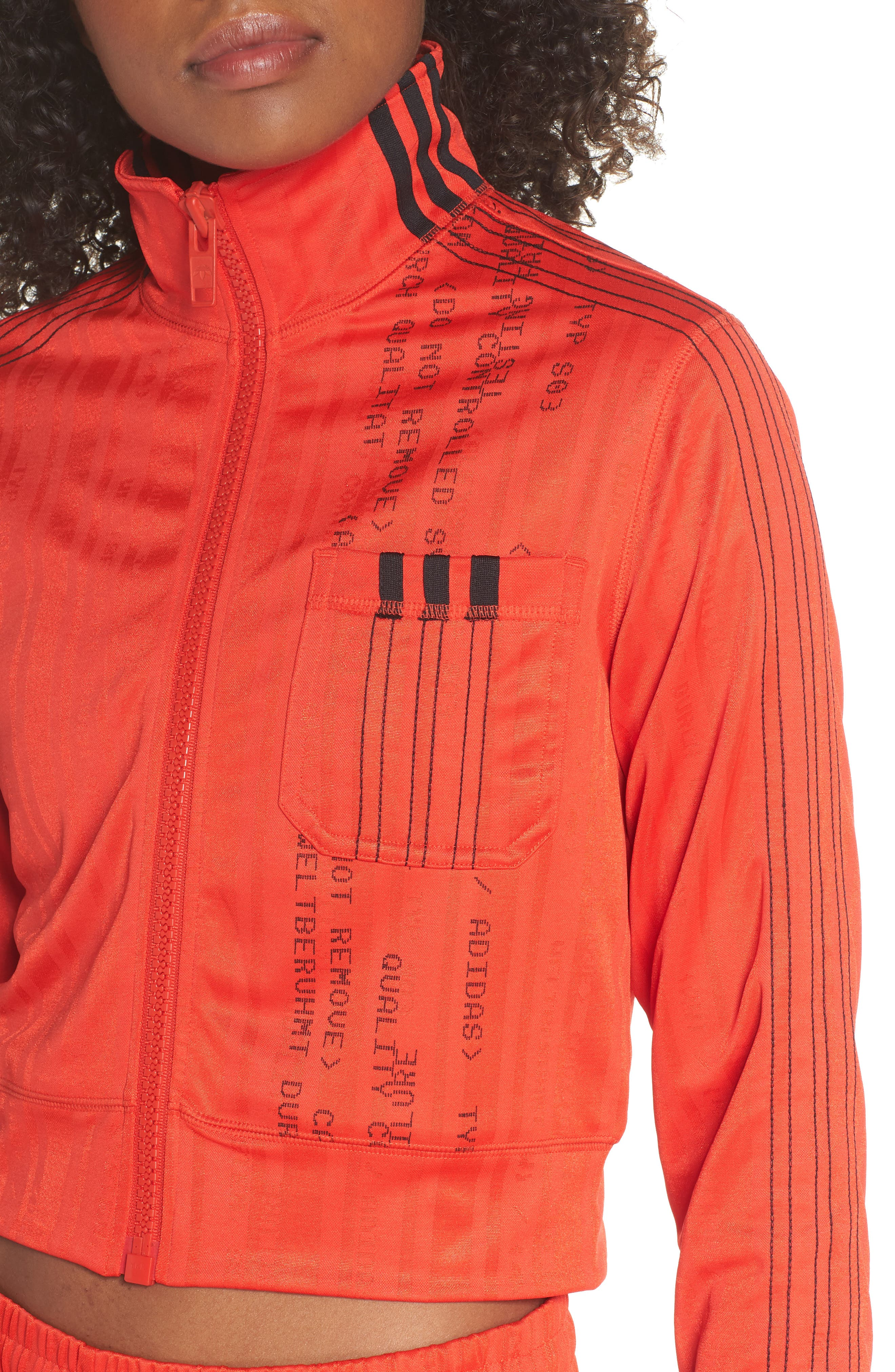 Crop Track Jacket,                             Alternate thumbnail 4, color,                             CORE RED/ BLACK
