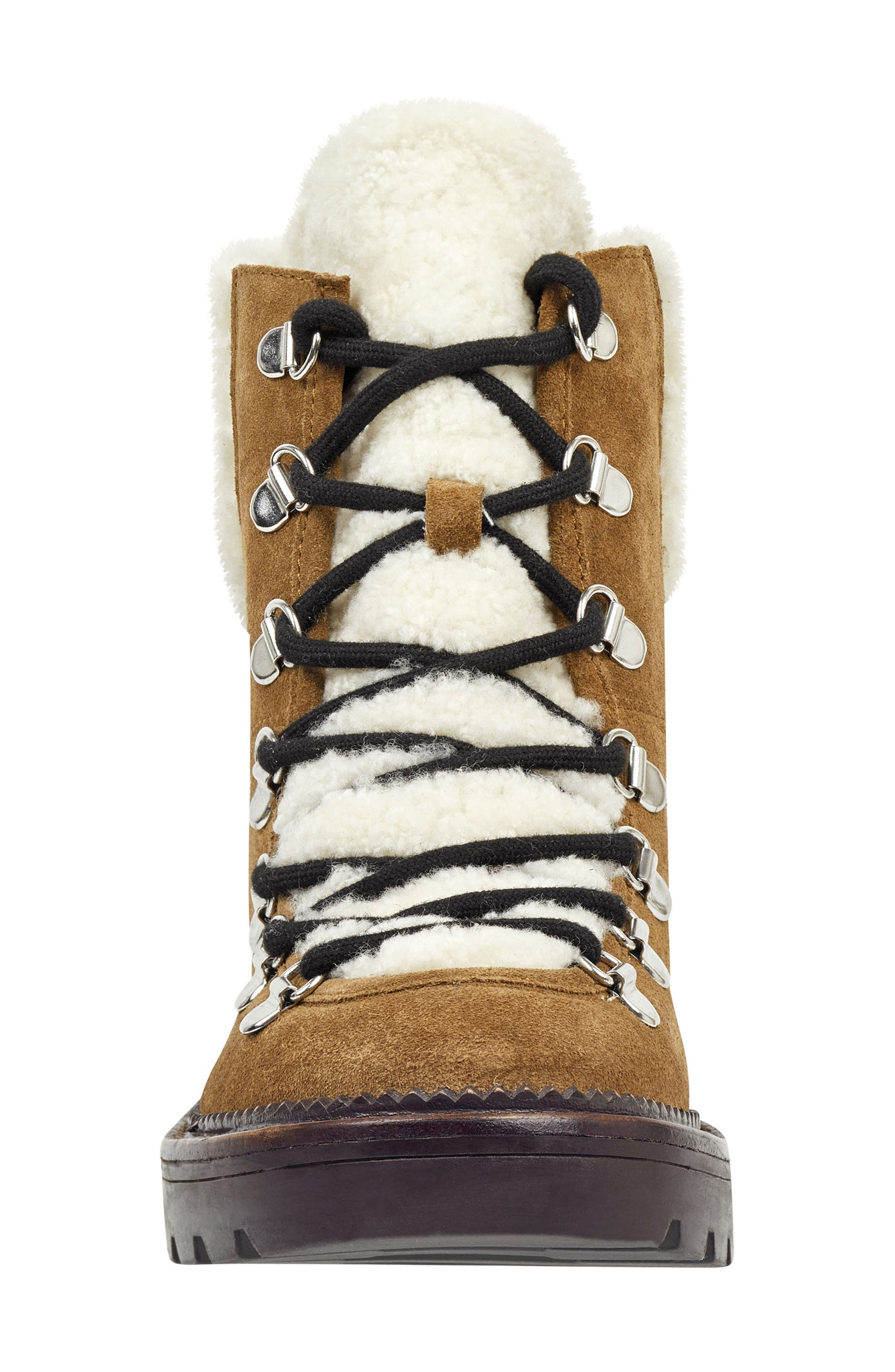 Capell Genuine Shearling Cuff Lace-Up Boot,                             Alternate thumbnail 4, color,                             BROWN SUEDE