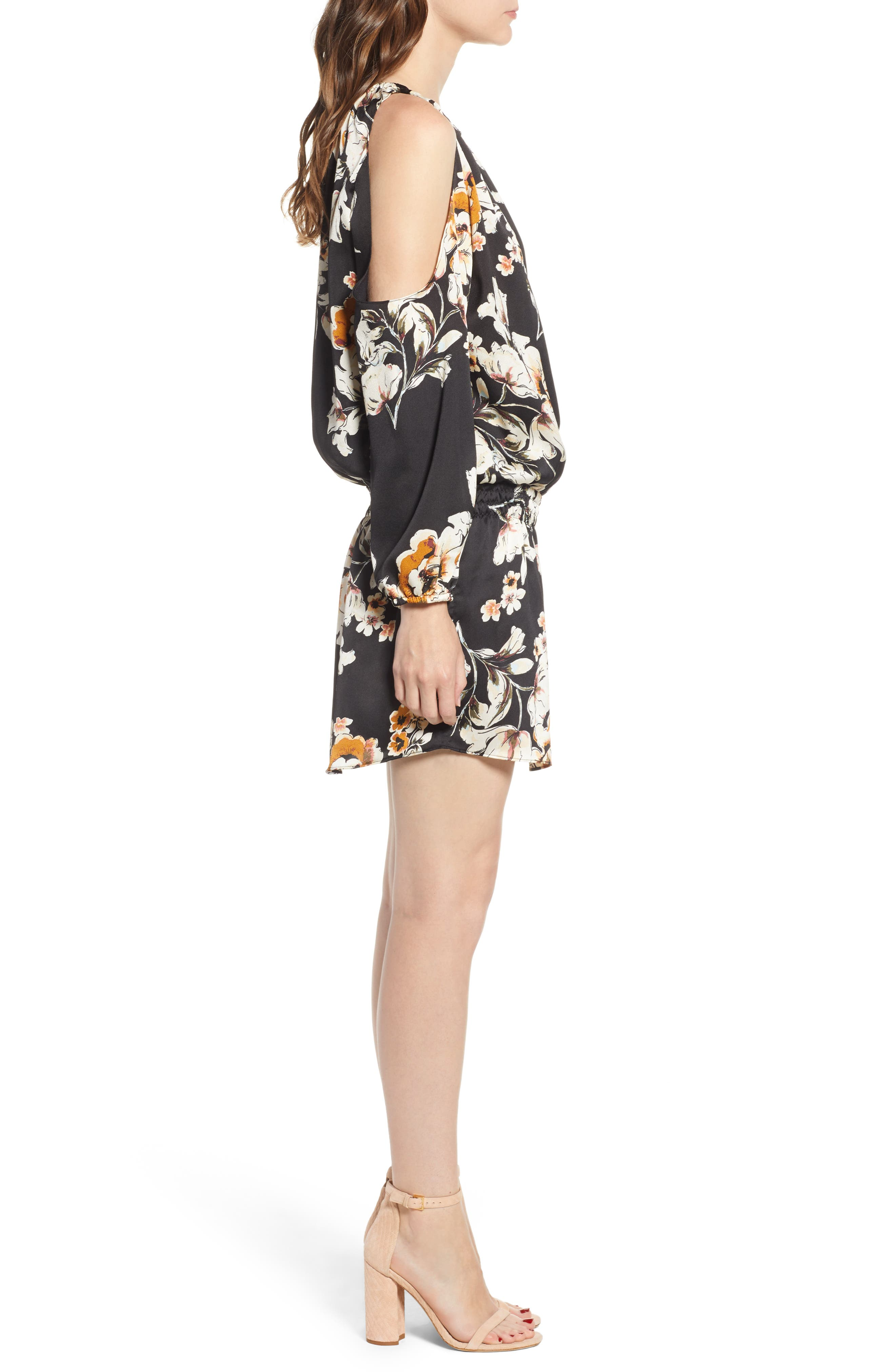 Bishop + Young Cold Shoulder Mini Dress,                             Alternate thumbnail 3, color,                             BLACK