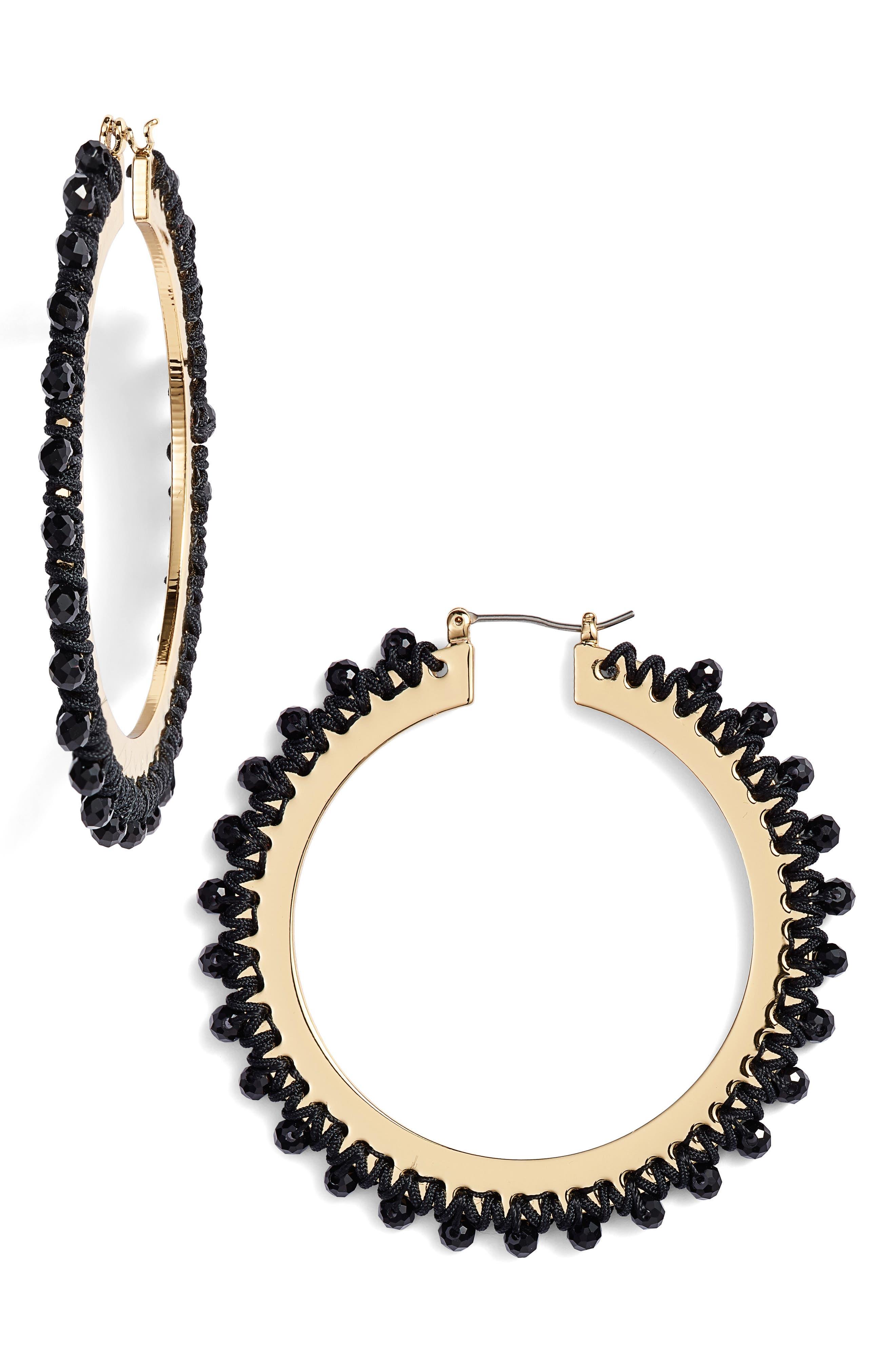 wrap it up hoop earrings,                         Main,                         color, BLACK