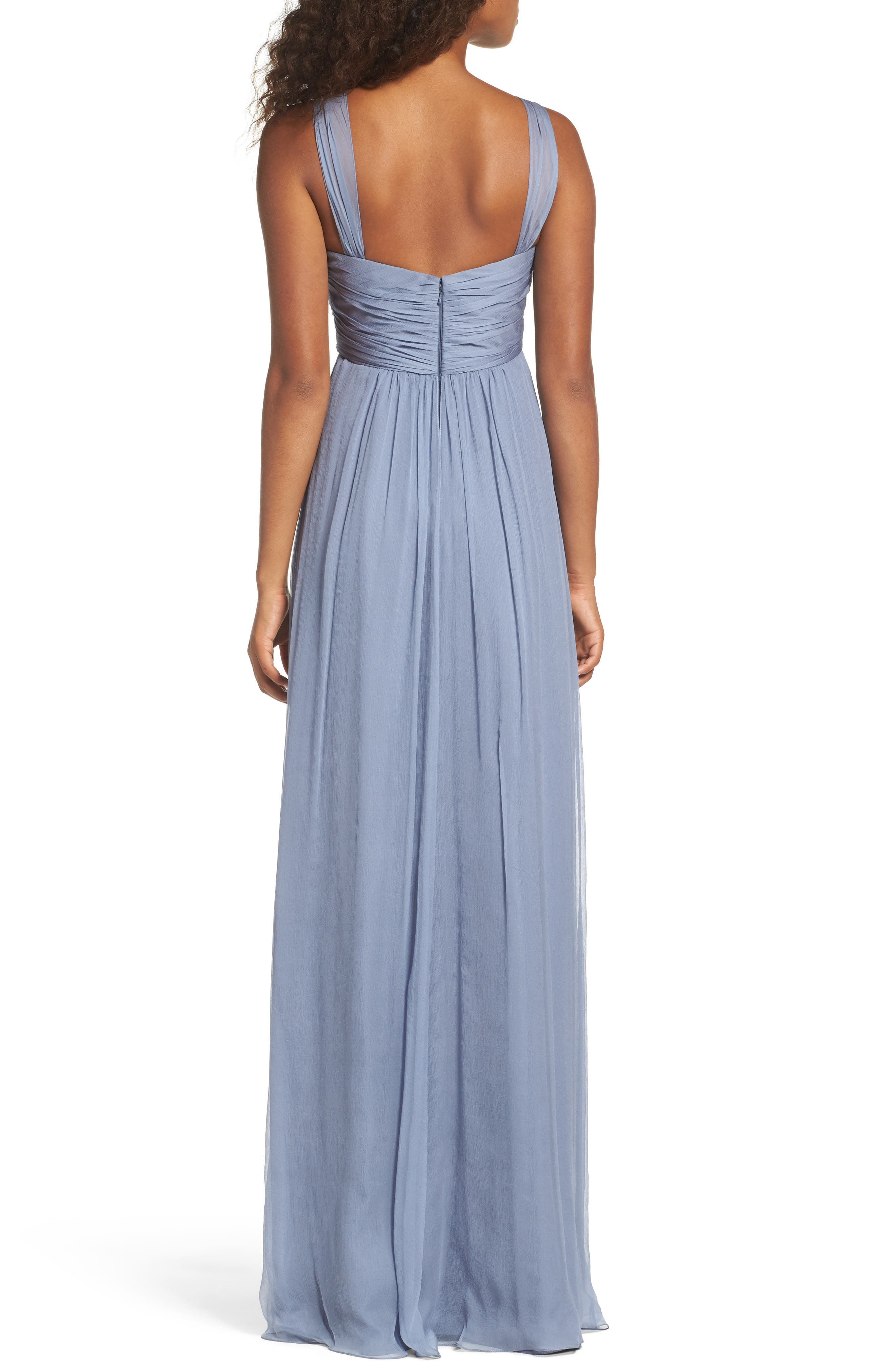 Corbin Crinkled Chiffon Empire Gown,                             Alternate thumbnail 3, color,