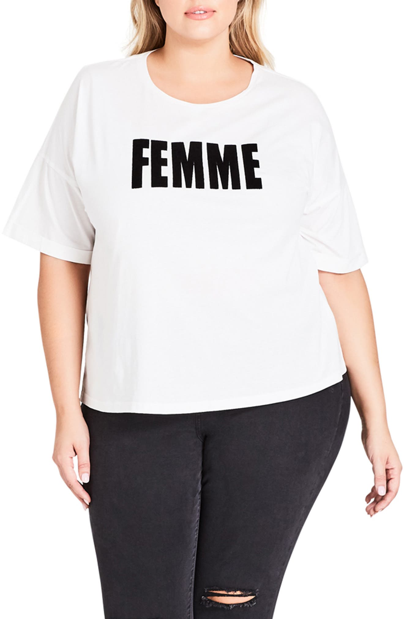 Plus Size City Chic Faux Fur Lettered Femme Tee, Ivory