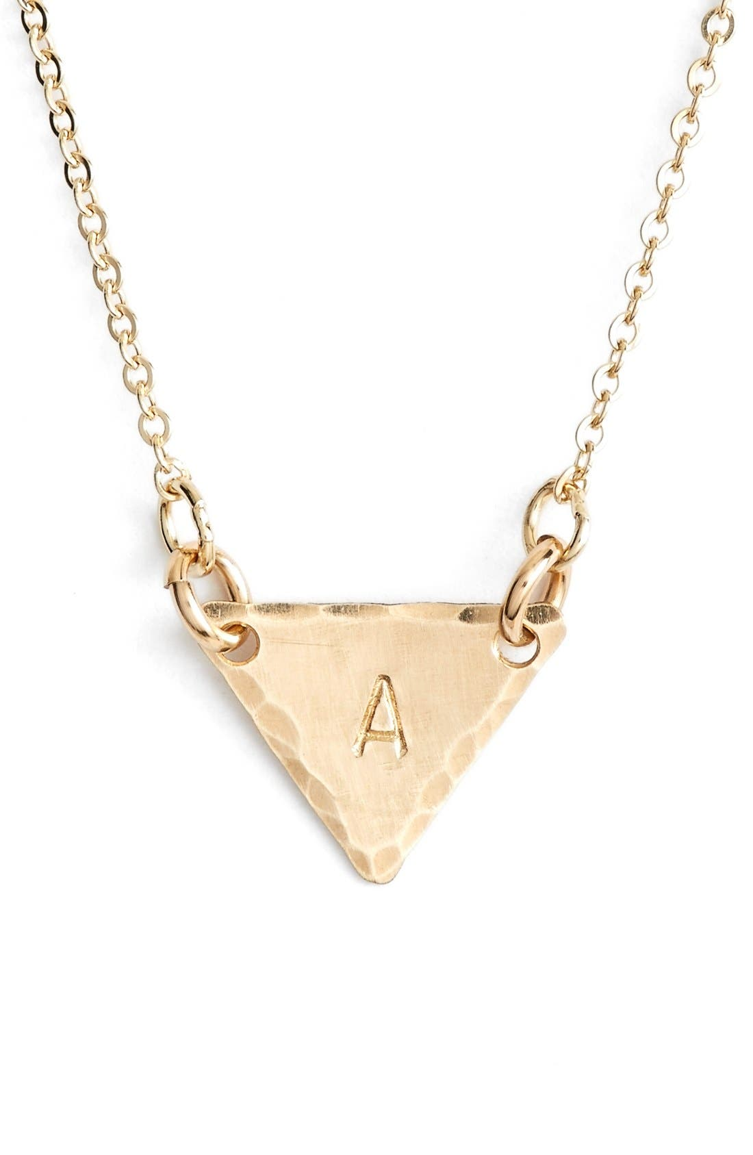 14k-Gold Fill Initial Triangle Necklace,                             Main thumbnail 1, color,                             710