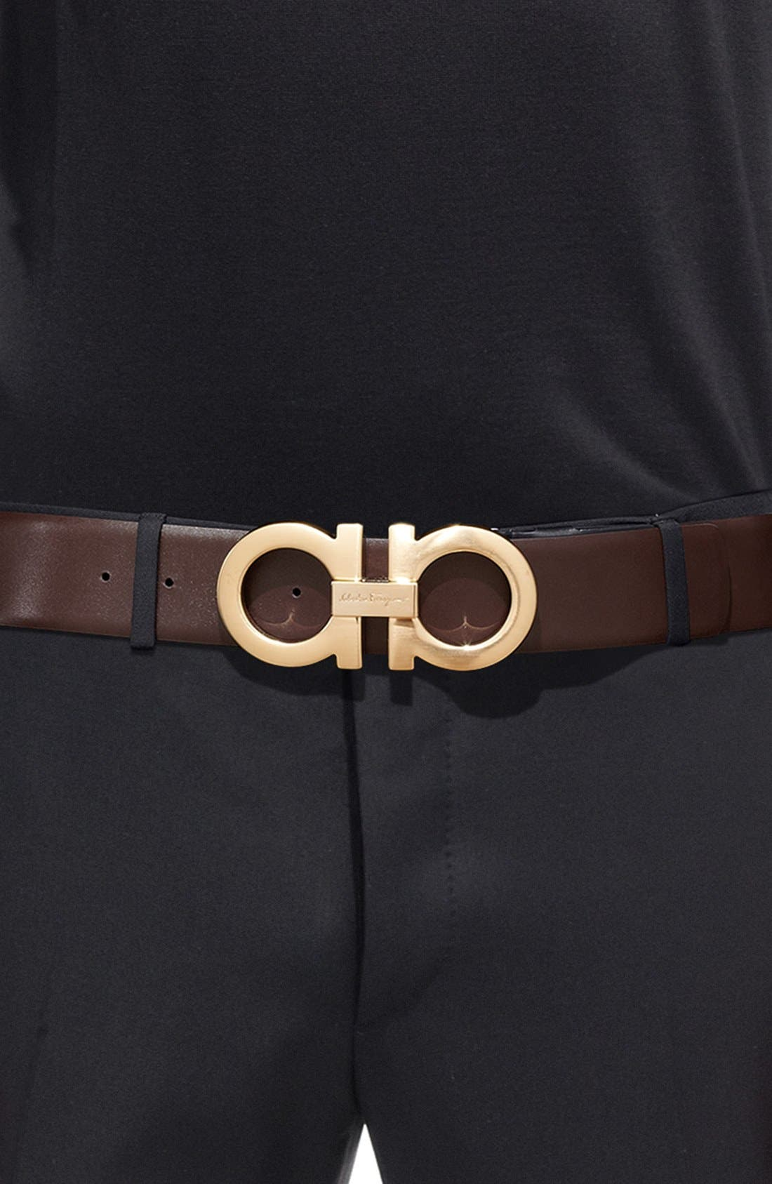 Reversible Calfskin Belt,                             Alternate thumbnail 6, color,                             001