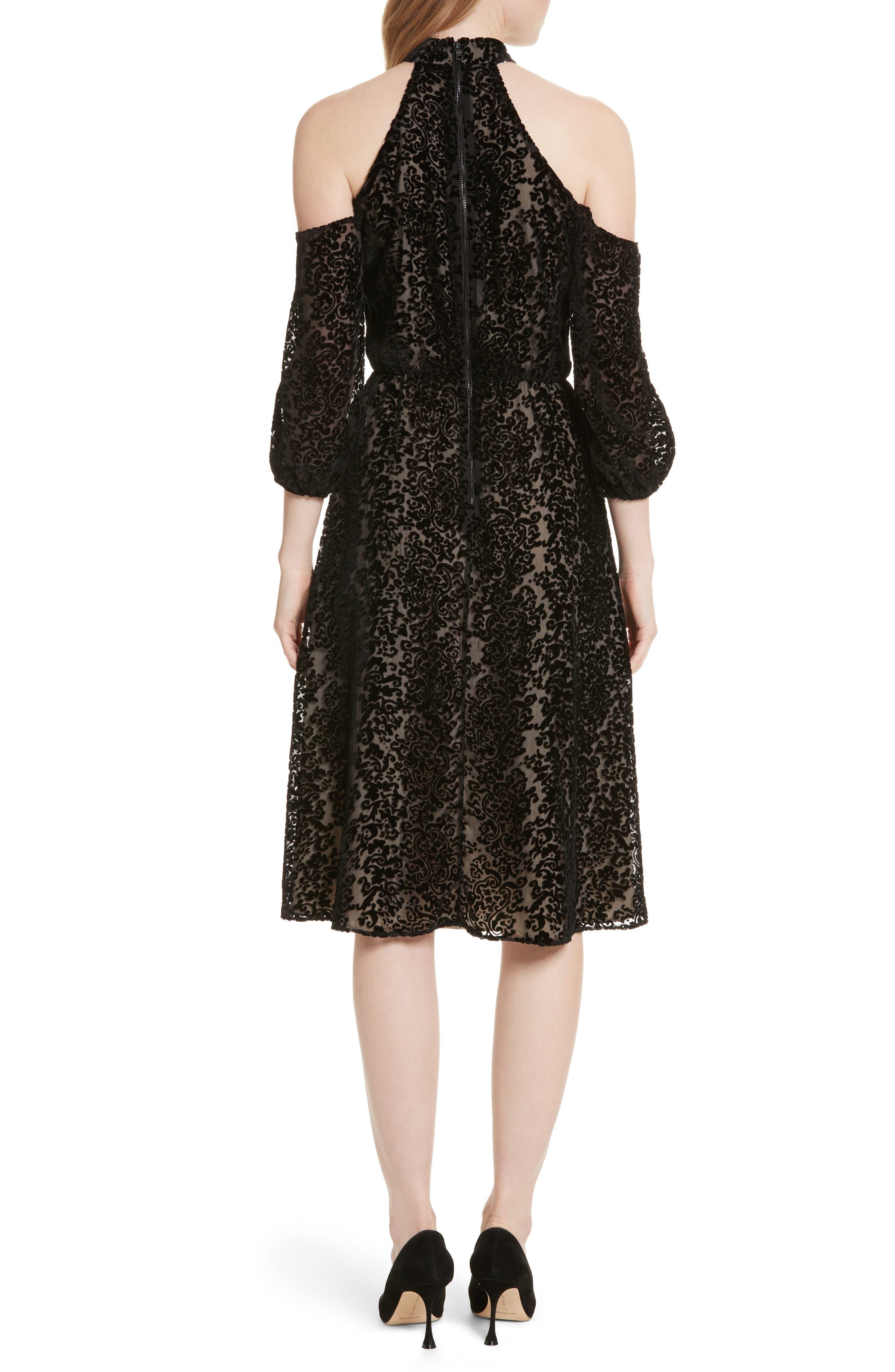 Ruthann Cold Shoulder Burnout Velvet Dress,                             Alternate thumbnail 2, color,                             001