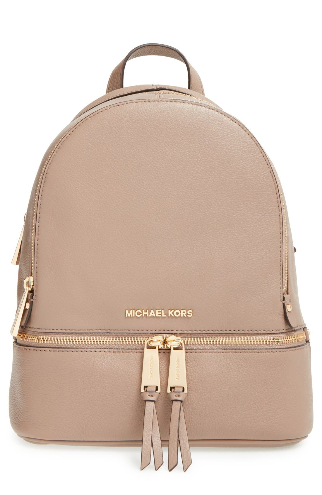 'Extra Small Rhea Zip' Leather Backpack,                             Main thumbnail 4, color,