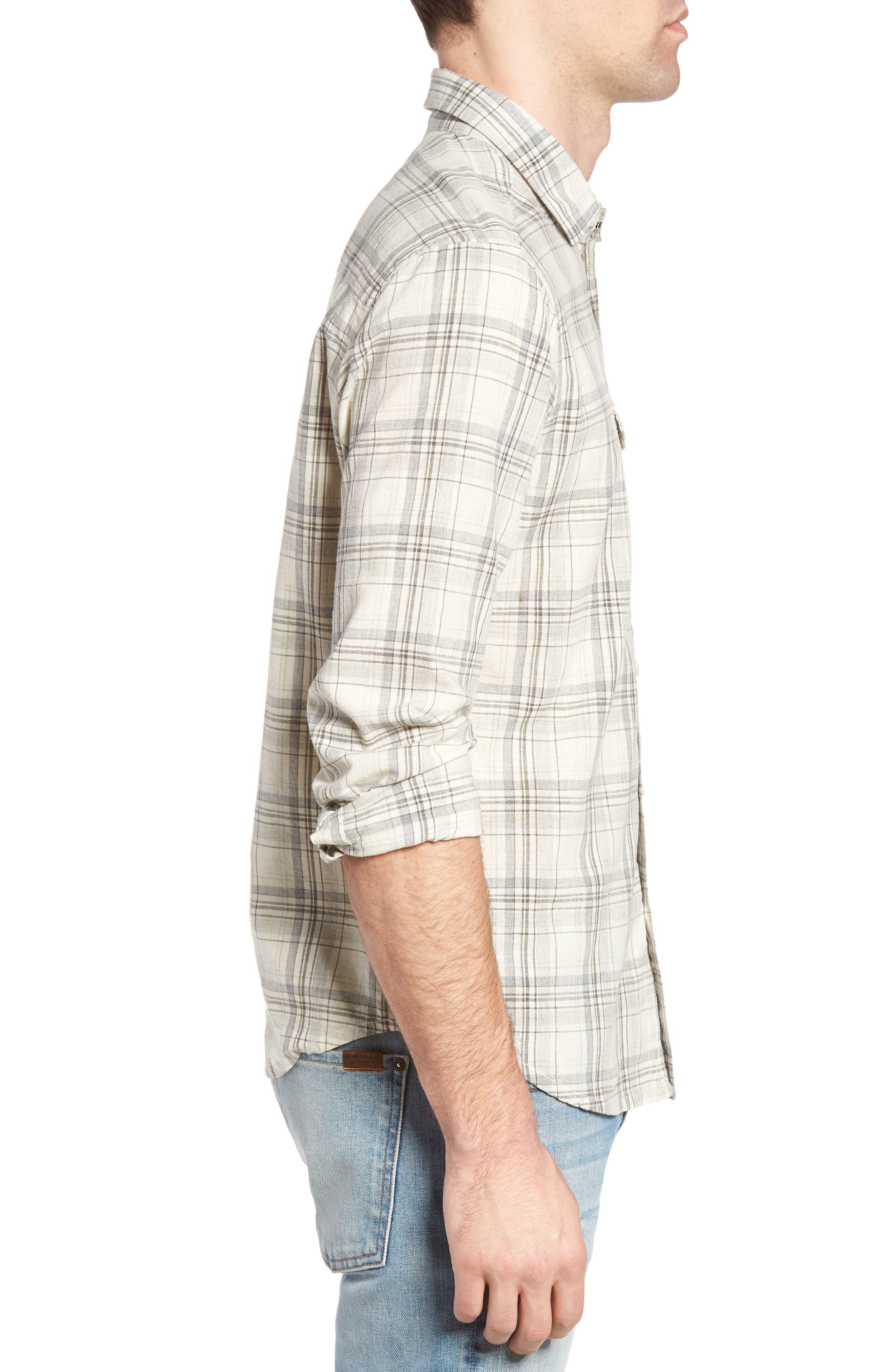 Henri Regular Fit Plaid Cotton & Linen Sport Shirt,                             Alternate thumbnail 3, color,                             280