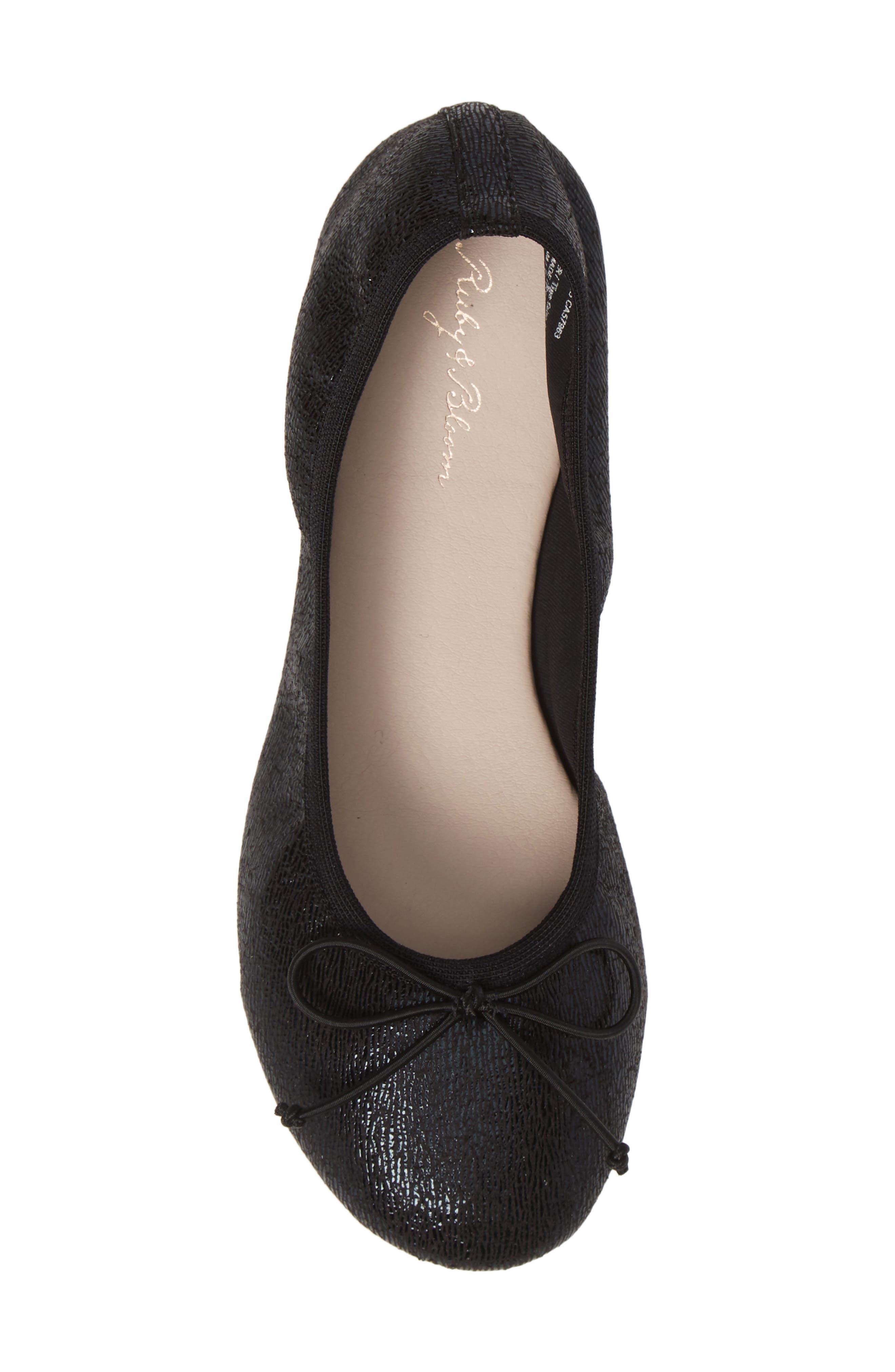 Bella Ballet Flat,                             Alternate thumbnail 5, color,                             BLACK SHIMMER FAUX LEATHER