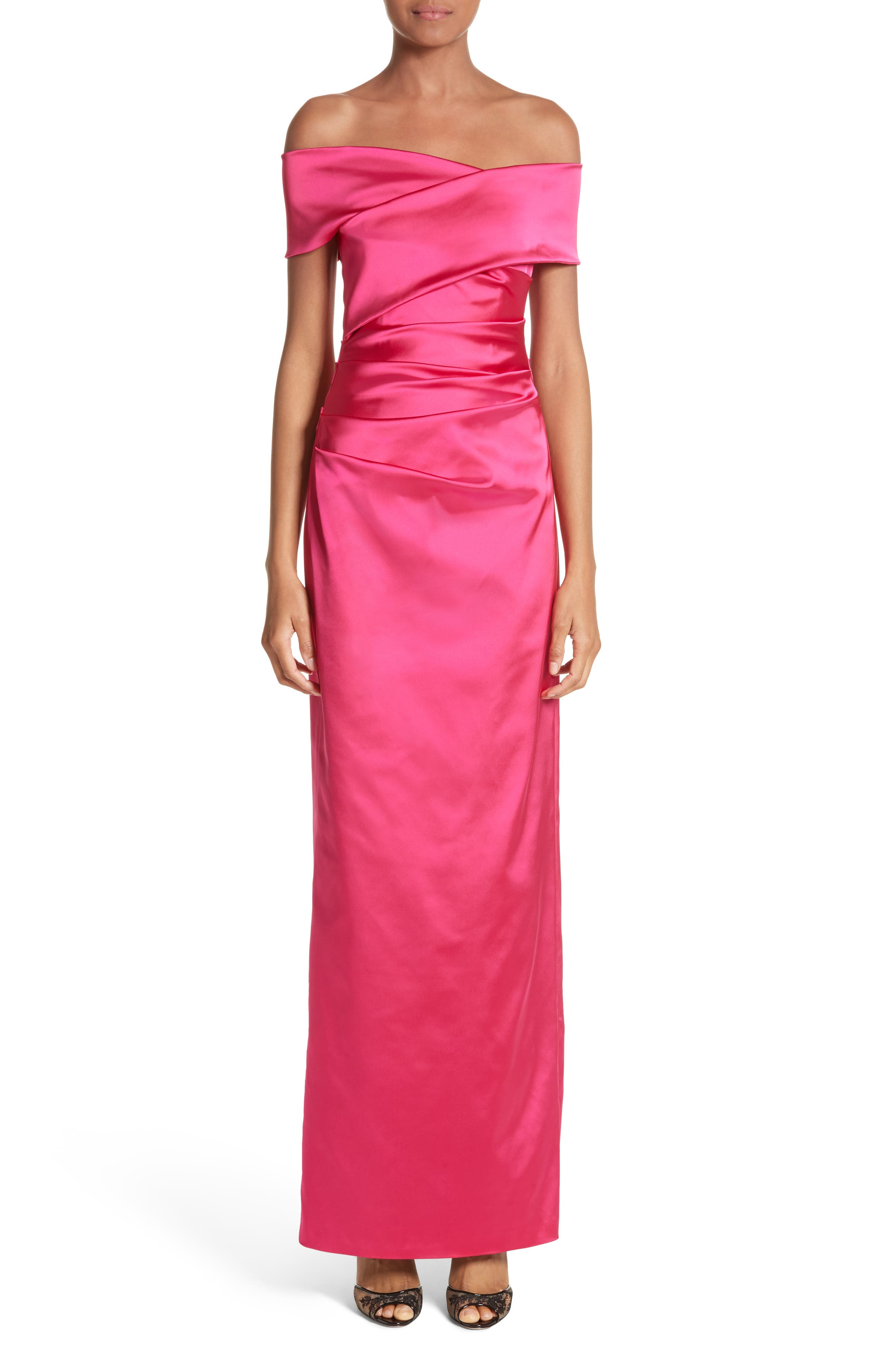 Stretch Satin Off the Shoulder Column Gown,                             Main thumbnail 1, color,                             BEGONIA